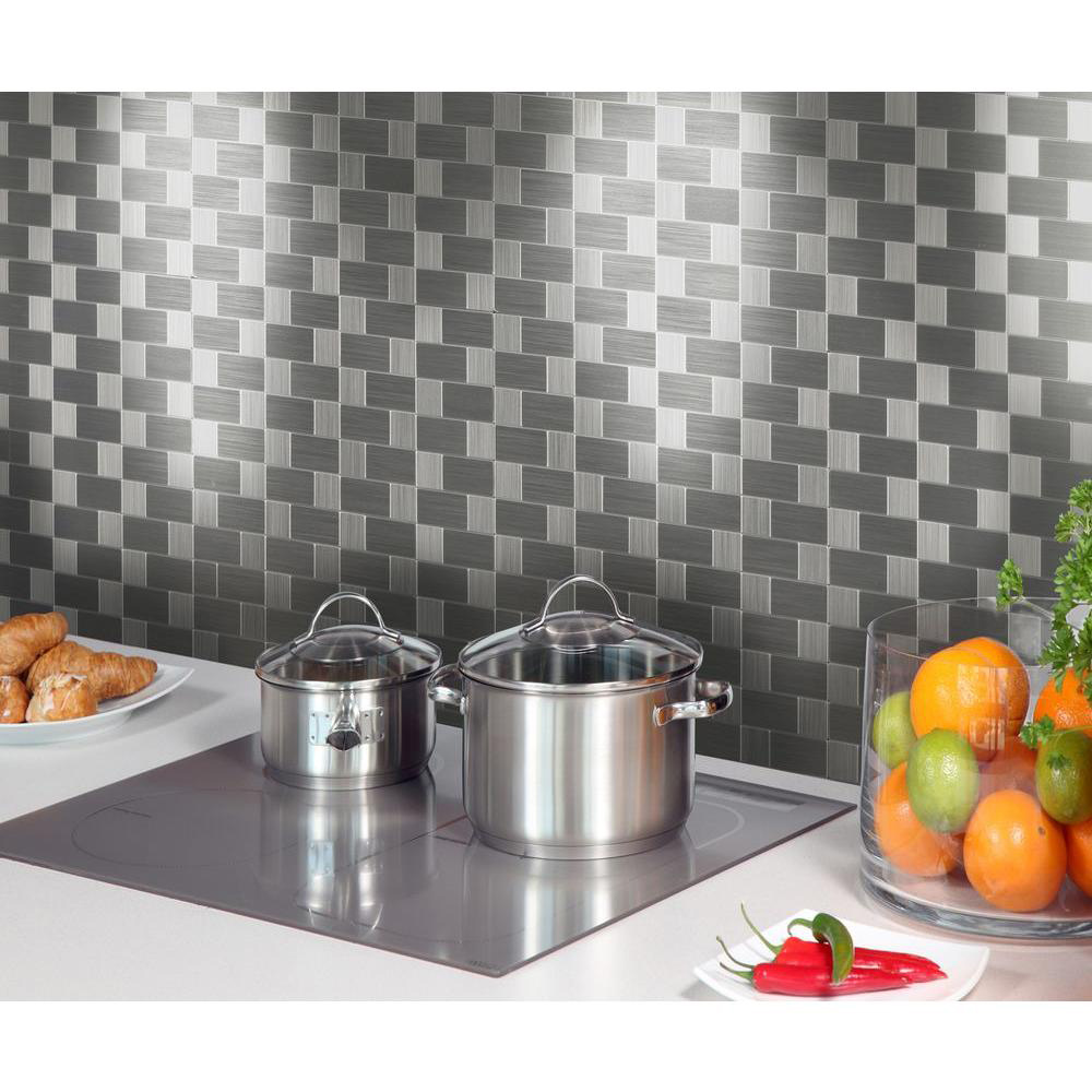 Wall Instant Mosaic Stainless Steel L N Stick Tile 6 12 X12 Pieces