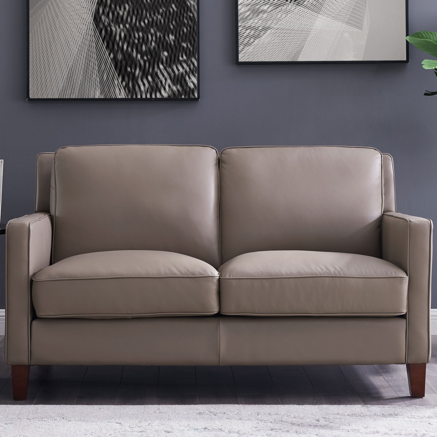 San Francisco Loveseat In Taupe Top Grain Leather By Hydeline Leather