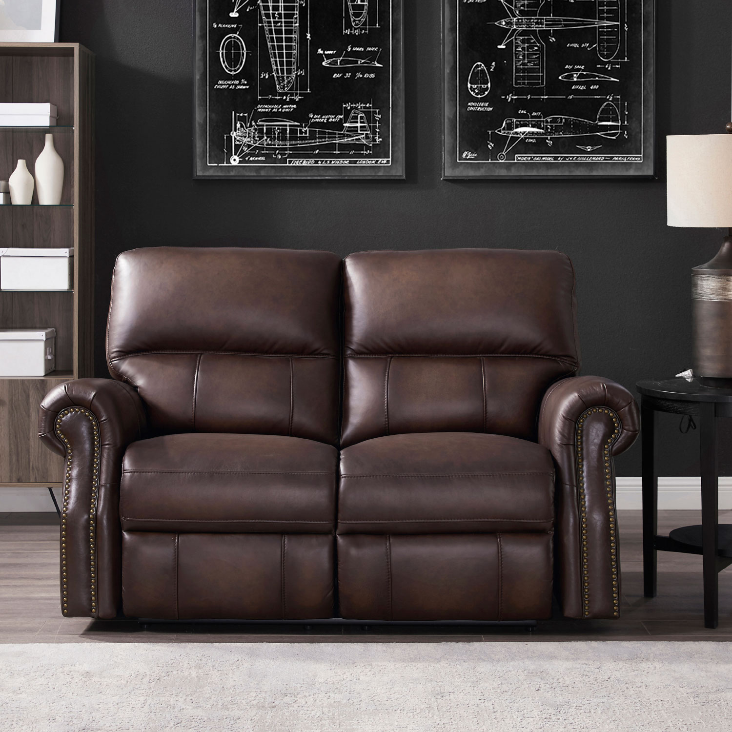 Marvelous Raymond Power Reclining Loveseat W Usb Port In Concord Walnut Leather By Hydeline Leather Ocoug Best Dining Table And Chair Ideas Images Ocougorg