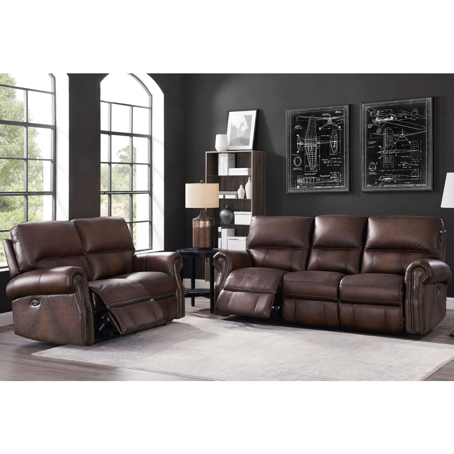 Surprising Raymond Power Reclining Loveseat W Usb Port In Concord Walnut Leather By Hydeline Leather Ocoug Best Dining Table And Chair Ideas Images Ocougorg