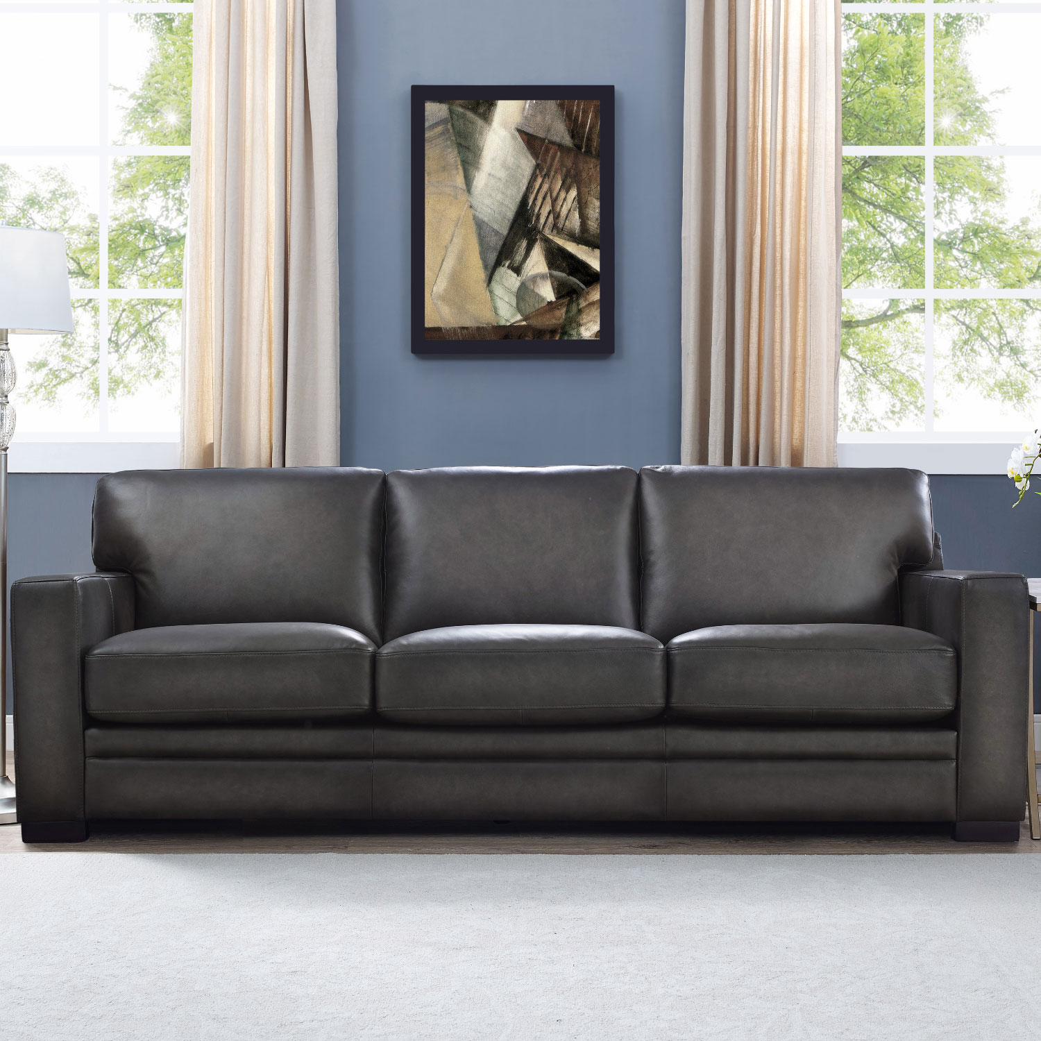 Fantastic Dillon Sofa In Gray Top Grain Leather By Hydeline Leather Caraccident5 Cool Chair Designs And Ideas Caraccident5Info