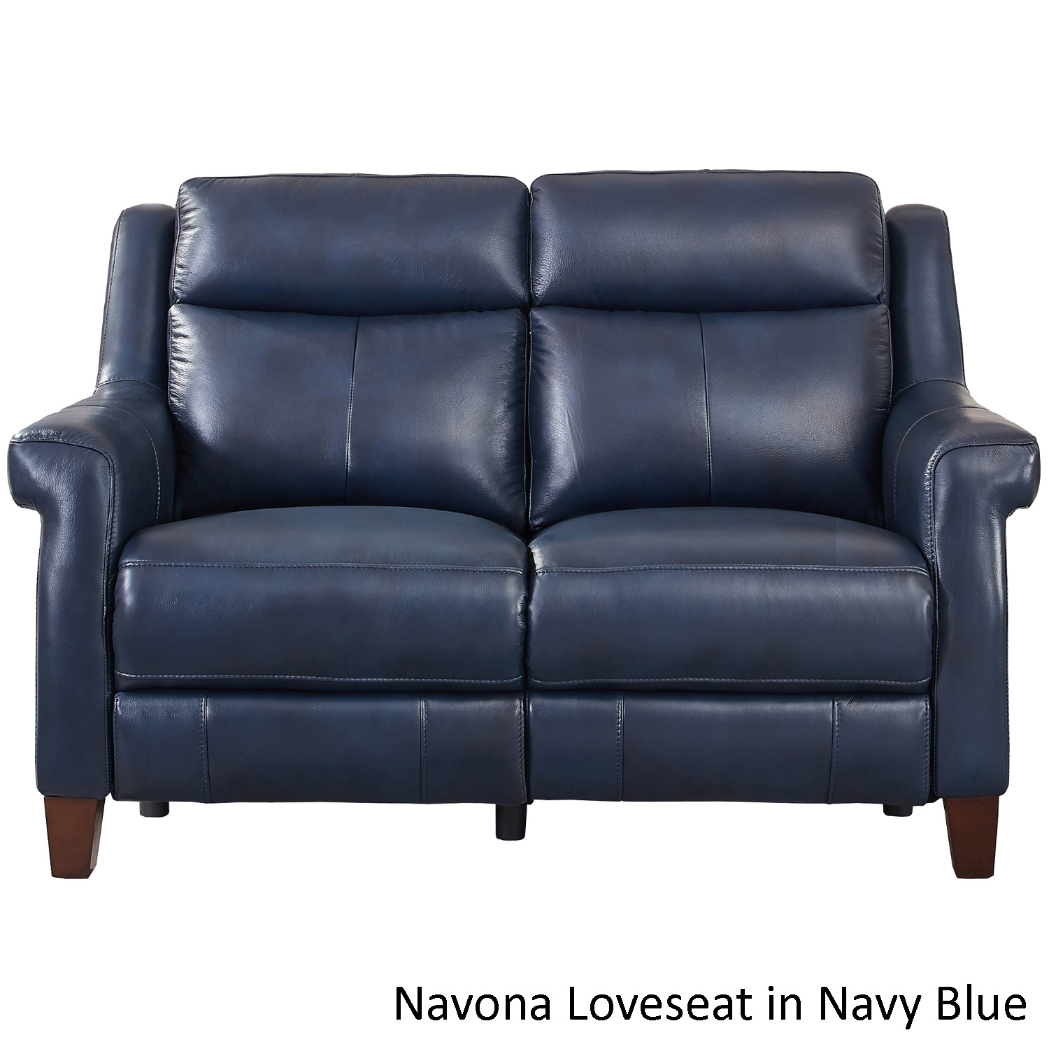 Hydeline Navona Lv Navona Leather Power Reclining Loveseat Shown In Navy Blue Customizable Colors