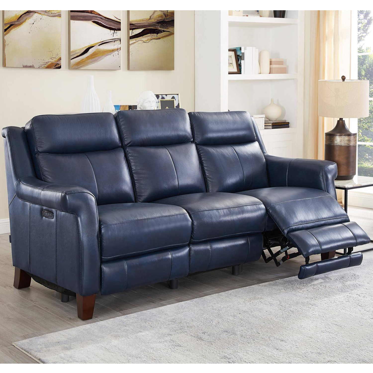 Navona Leather 3 Piece Set Power Reclining Sofa Loveseat Armchair In Blue By Hydeline Leather