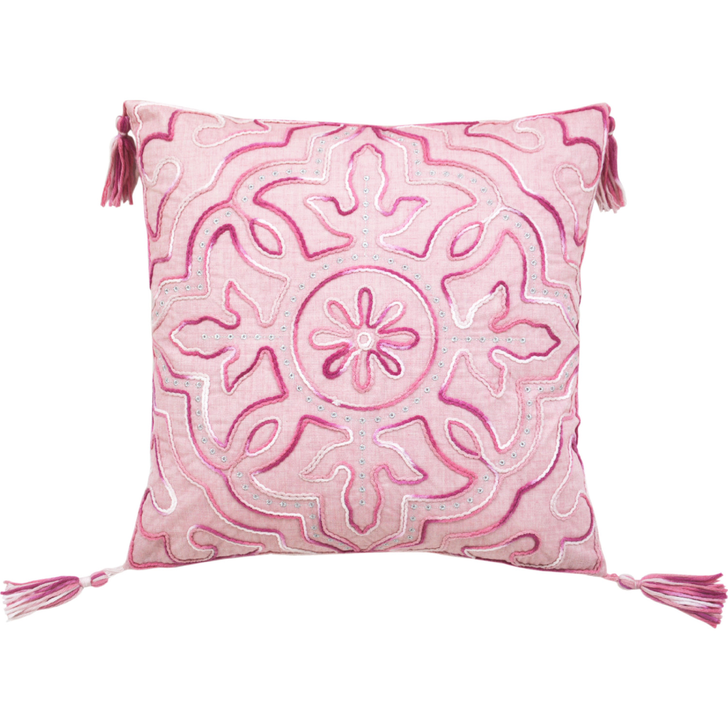 Lea Unlimited 82700 Tile Throw Pillow In Pink Chenille W Pink Tassels