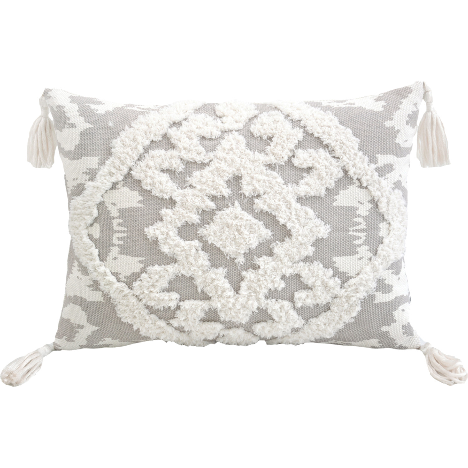 Lea Unlimited 83140 Corded Morocco Embroidered Throw Pillow In Grey Canvas