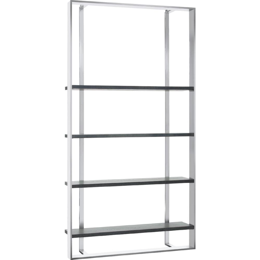 Dalton Bookcase W Stainless Frame 4 Distressed Grey Oak Shelves By Sunpan