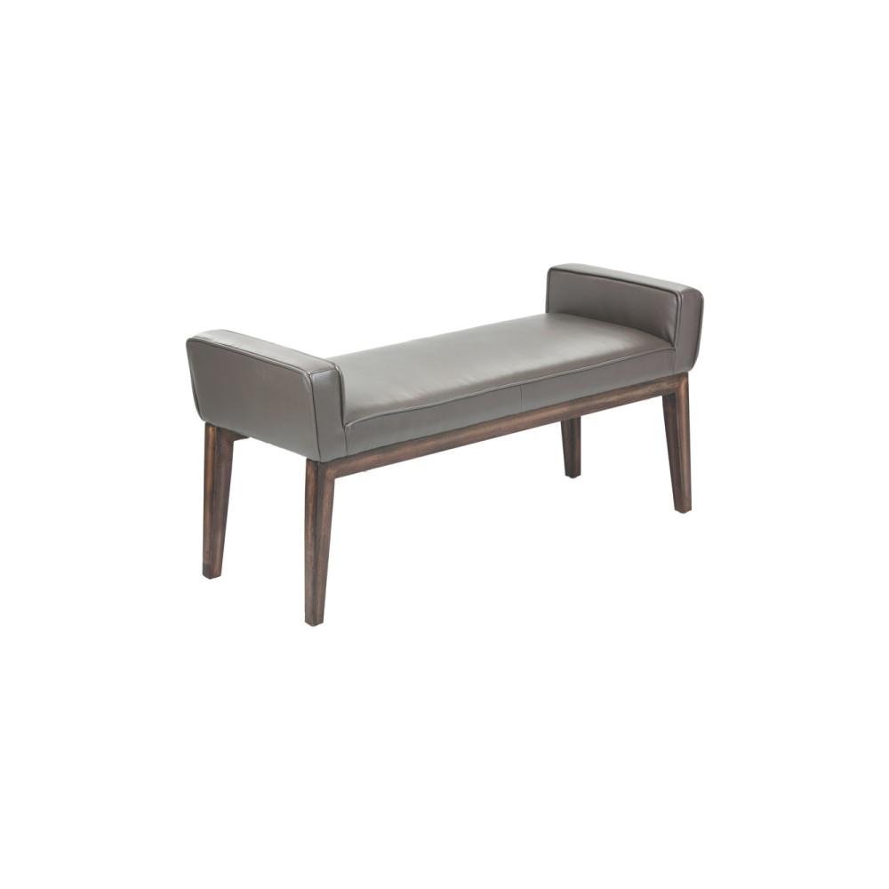 Sunpan 100388 Harrod Bench in Dove Grey Leather on Walnut ...