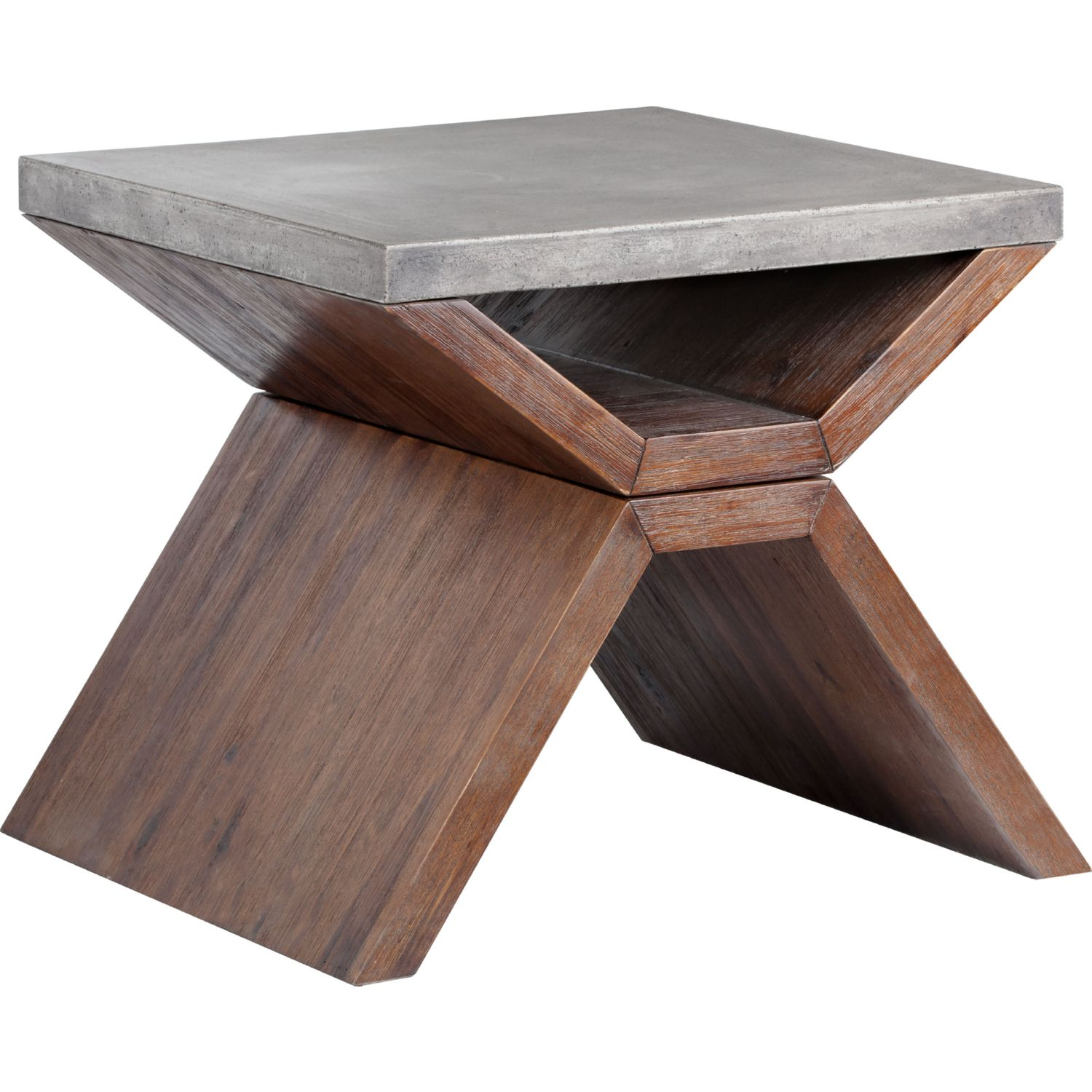 Vixen End Table W/ Concrete Top On Acacia Wood Base