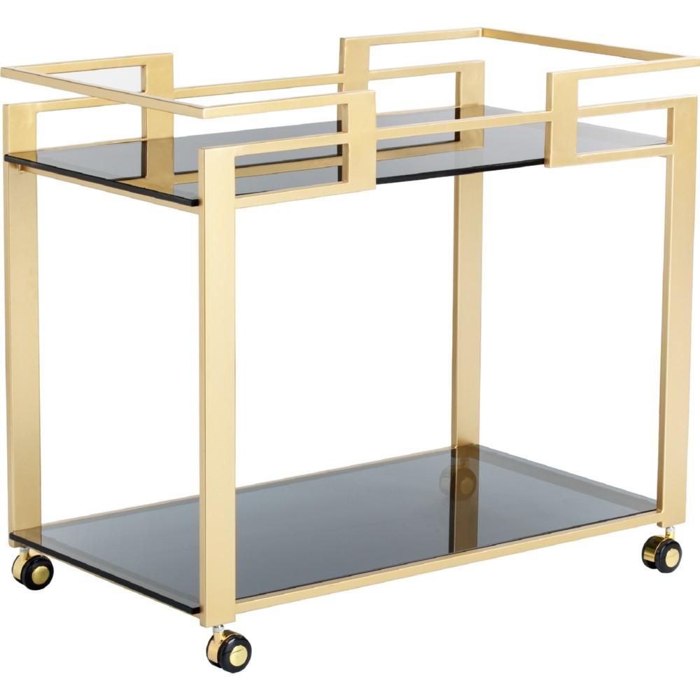Avondale Bar Cart W/ Matte Gold Frame U0026 2 Black Glass Shelves