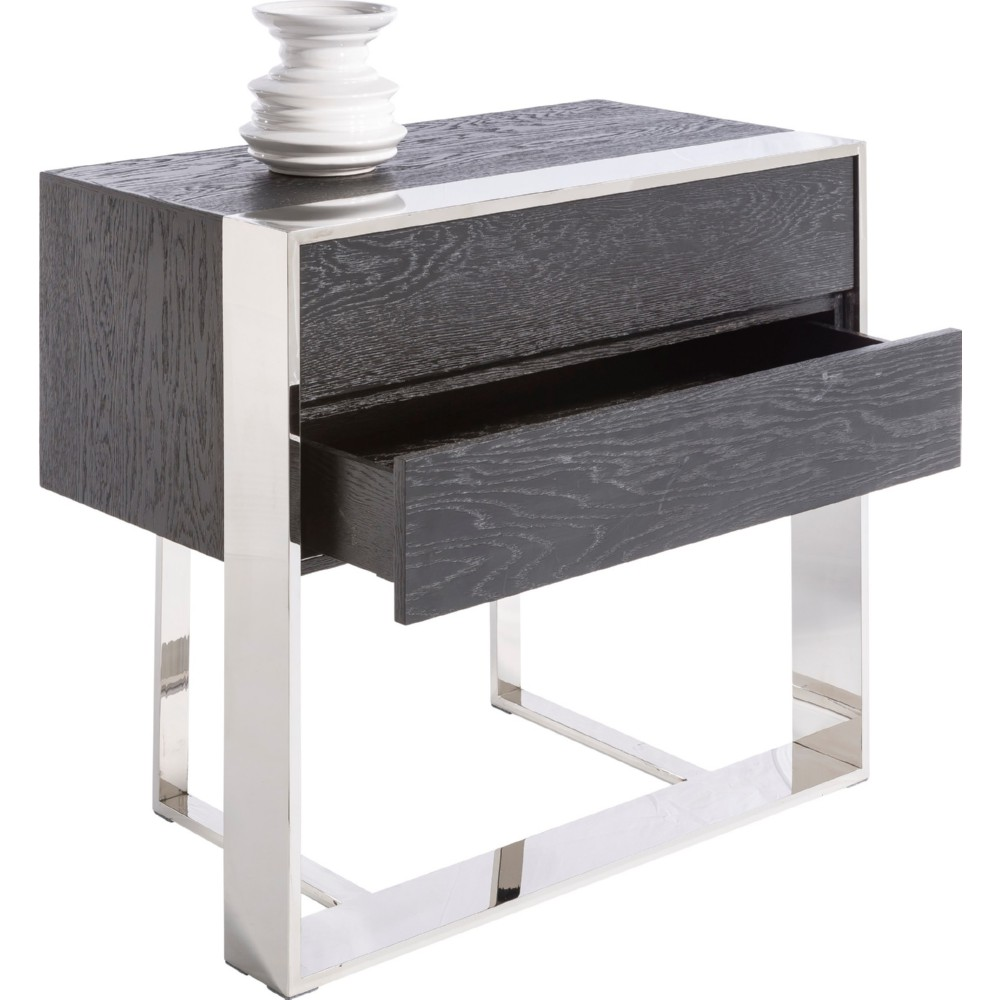 sunpan dalton end table w drawers in black oak on polished stainless