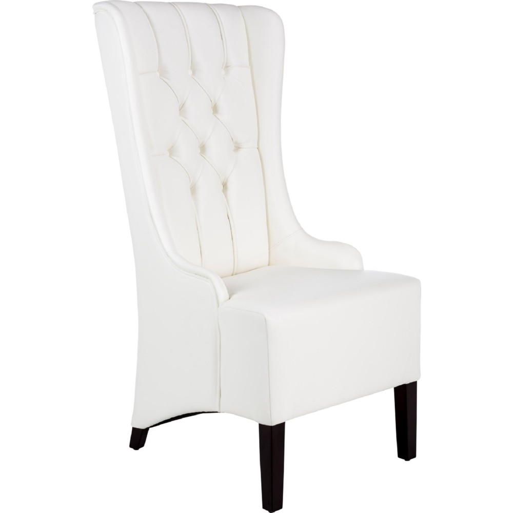 Napa Wing Back Dining Chair In Tufted White Leather W/ Espresso Legs Part 56