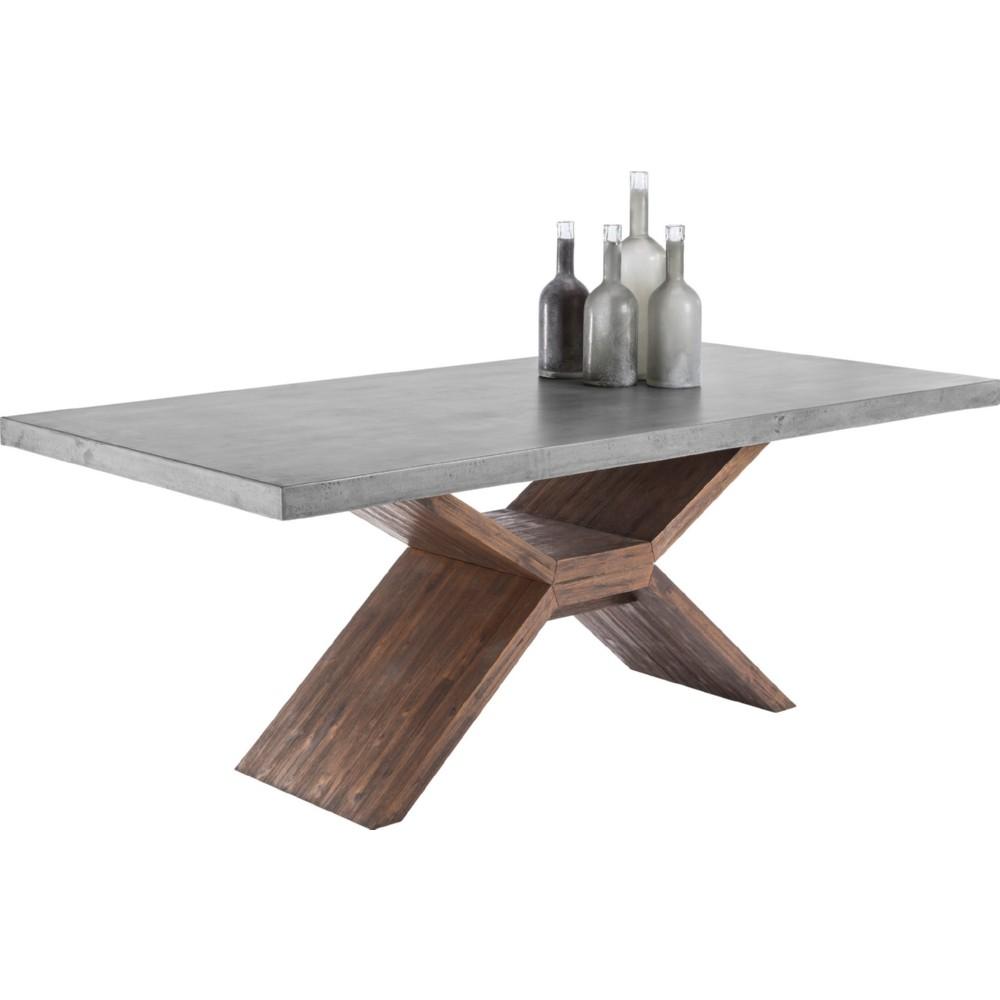 concrete top dining table Sunpan 100783 Vixen Dining Table in Acacia Wood w/ Sealed Concrete Top concrete top dining table