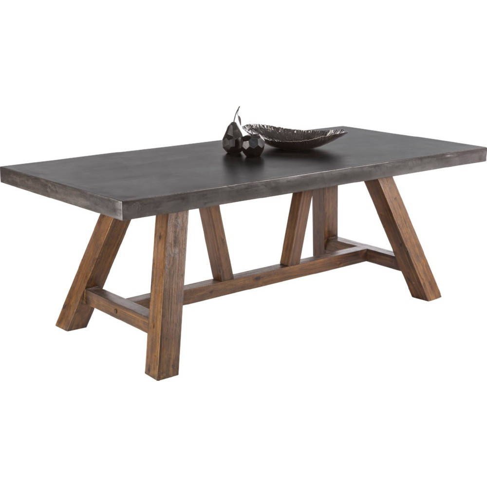 Cooper Dining Table in Solid Acacia Wood w  Sealed Black Concrete. Sunpan 100787 Cooper Dining Table in Solid Acacia Wood w  Sealed
