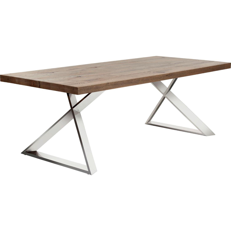 Sunpan Cruze Dining Table w Solid Distressed Oak Top on