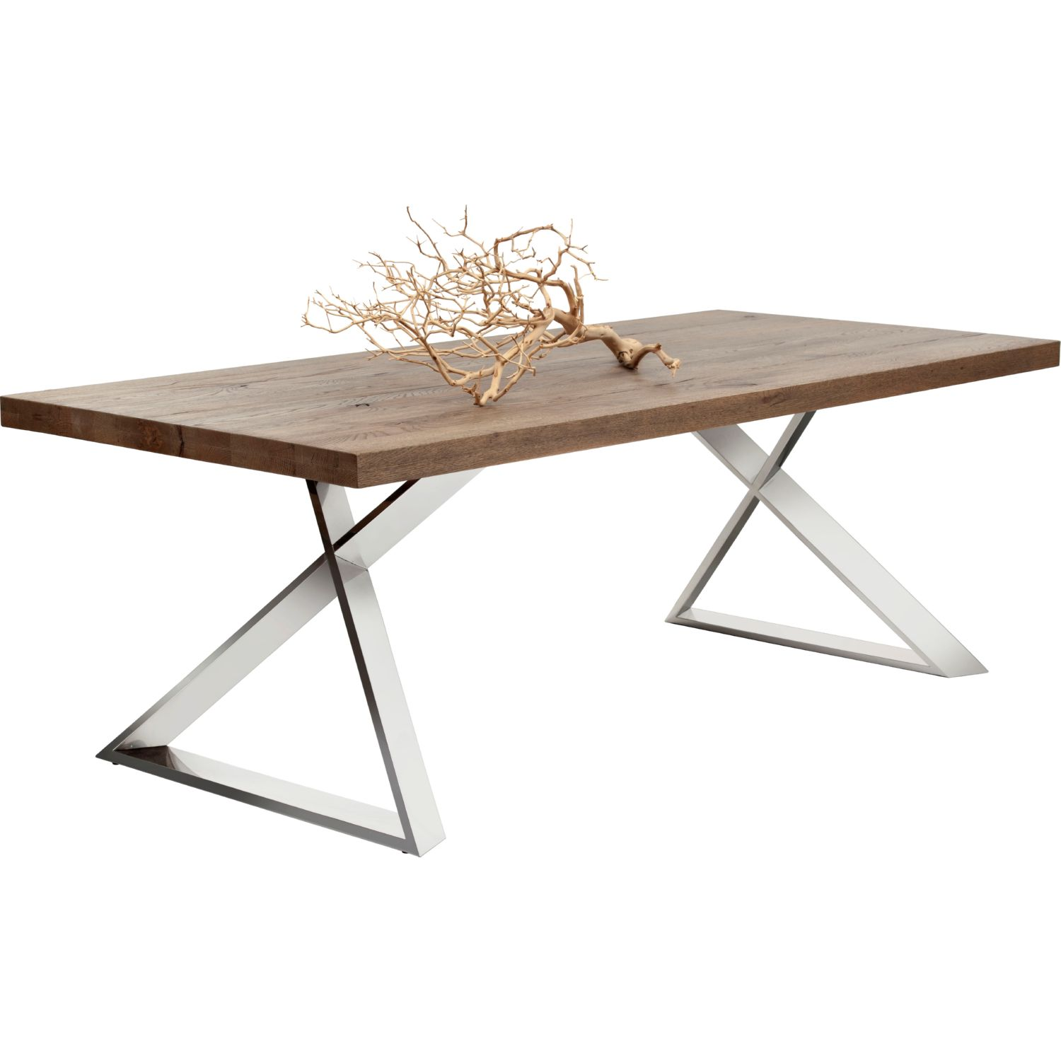 Sunpan 101026 cruze dining table w solid distressed oak top on cruze dining table w solid distressed oak top on stainless steel legs geotapseo Image collections