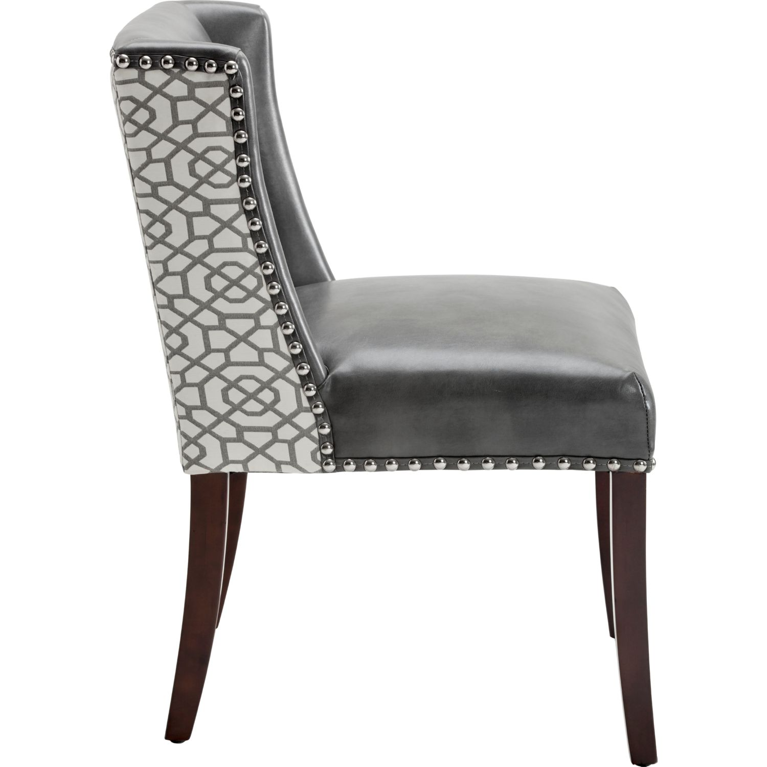 Sunpan Marlin Dining Chair in Nobility Grey Leather Front u0026 Diamond Fabric Back (Set of 2)  sc 1 st  Dynamic Home Decor & Sunpan 101088 Marlin Dining Chair in Nobility Grey Leather Front ...