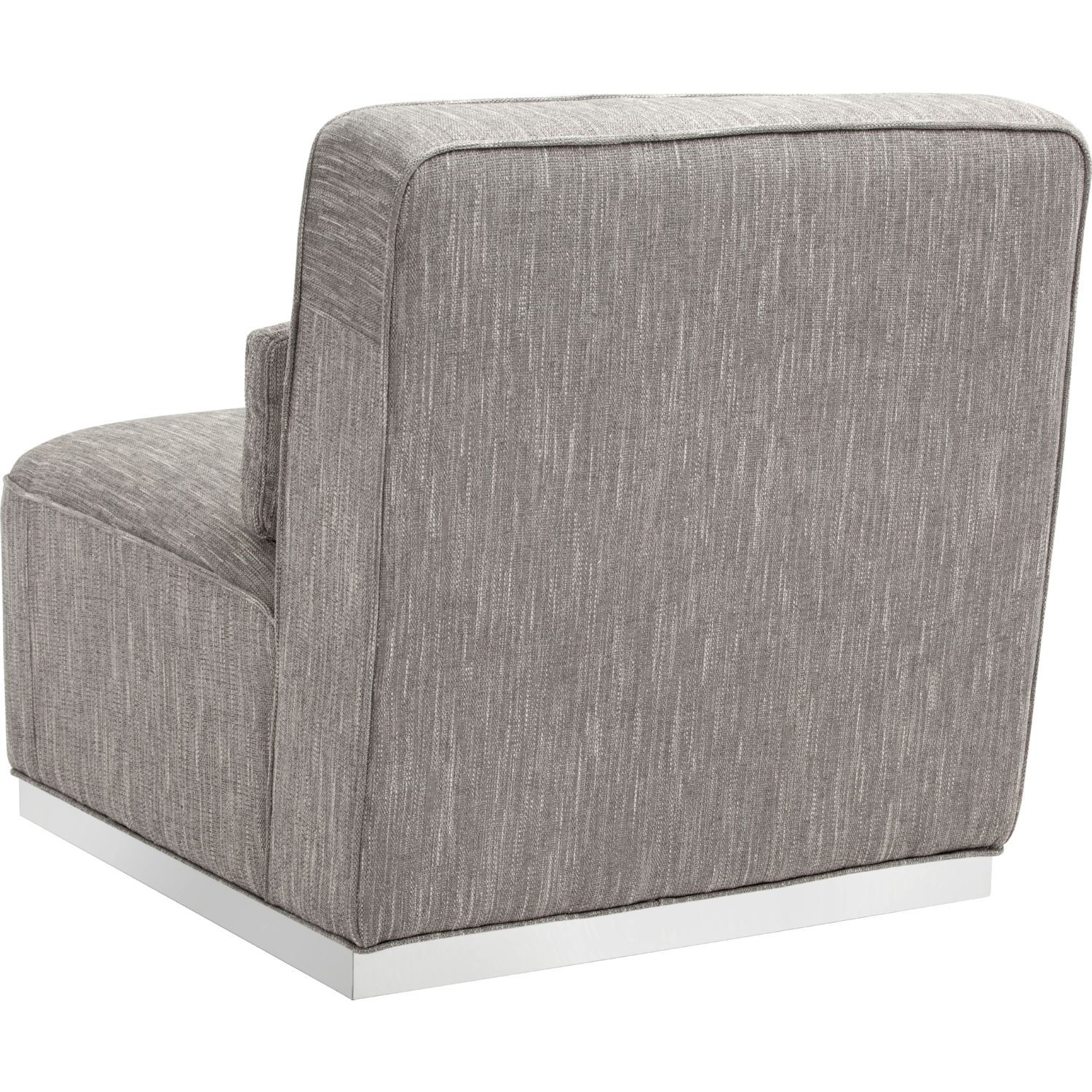 caledon swivel accent chair in hannigan fog fabric on stainless steel base