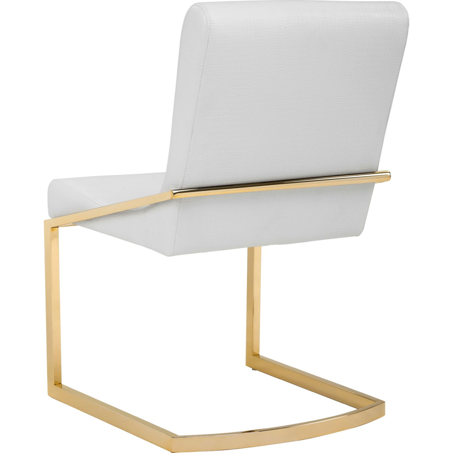 Beau Sunpan Marcelle Dining Chair In White Croc Leatherette On Yellow Gold  Stainless (Set Of 2)