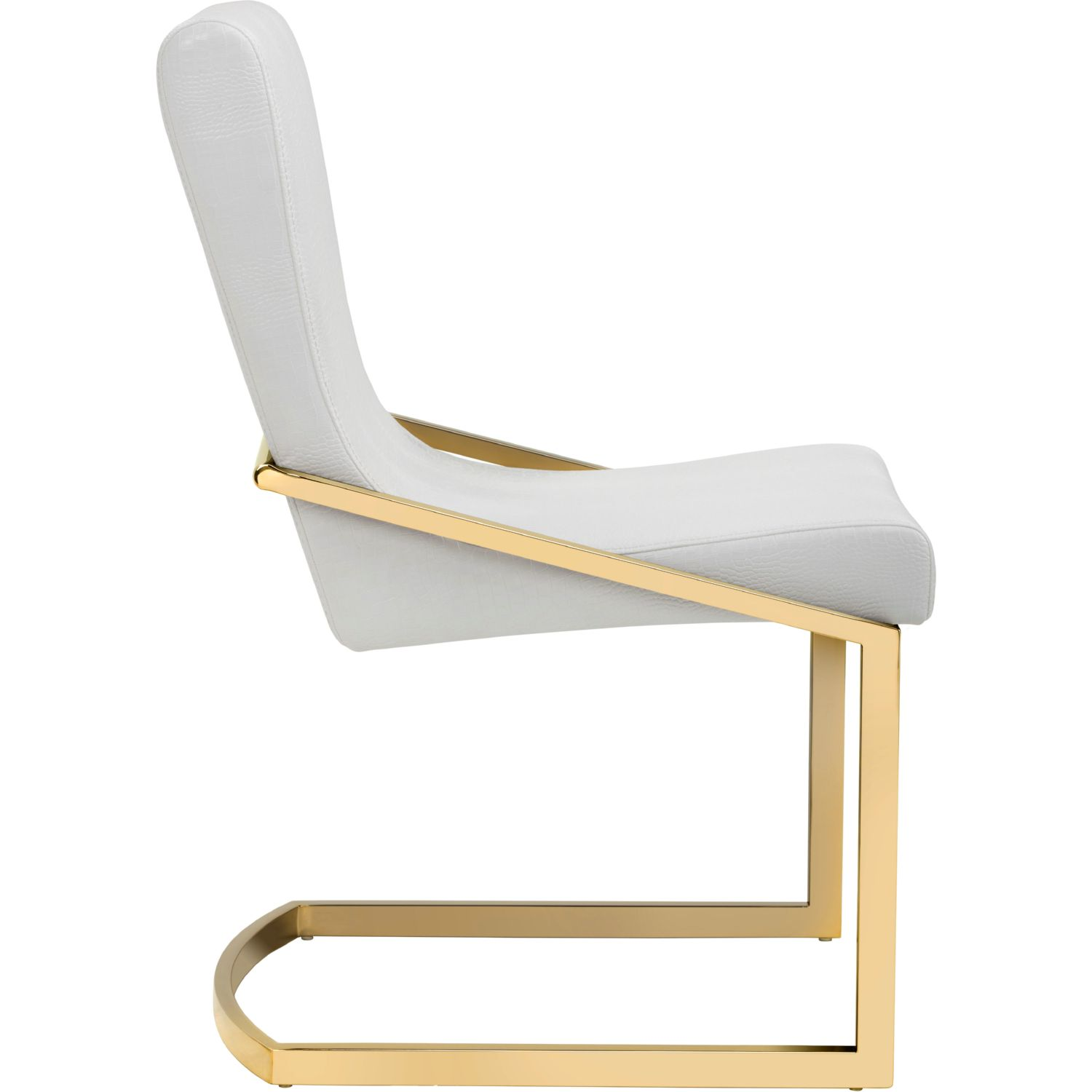 Sunpan Marcelle Dining Chair in White Croc Leatherette on