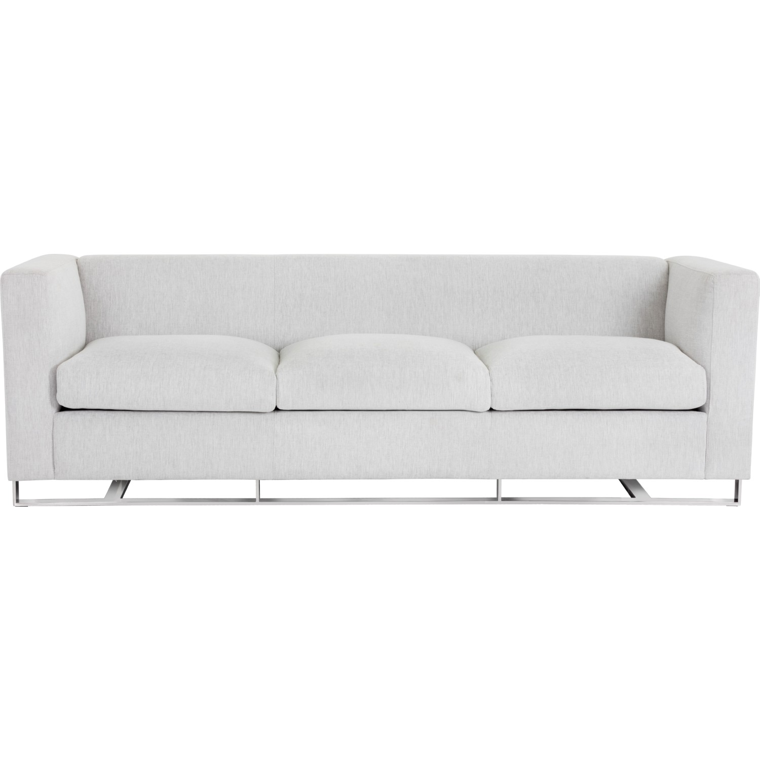 Keaton Sofa In Hemingway Marble Fabric On Polished Stainless Steel Frame