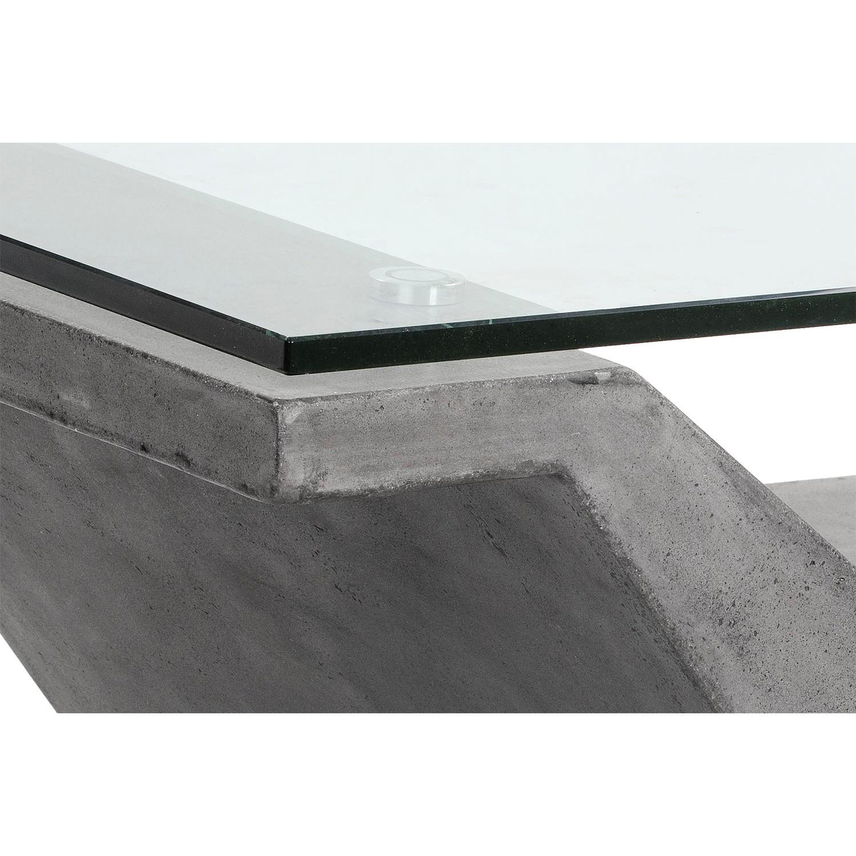 Sunpan Jasper Coffee Table w Glass Top on V Shape Concrete