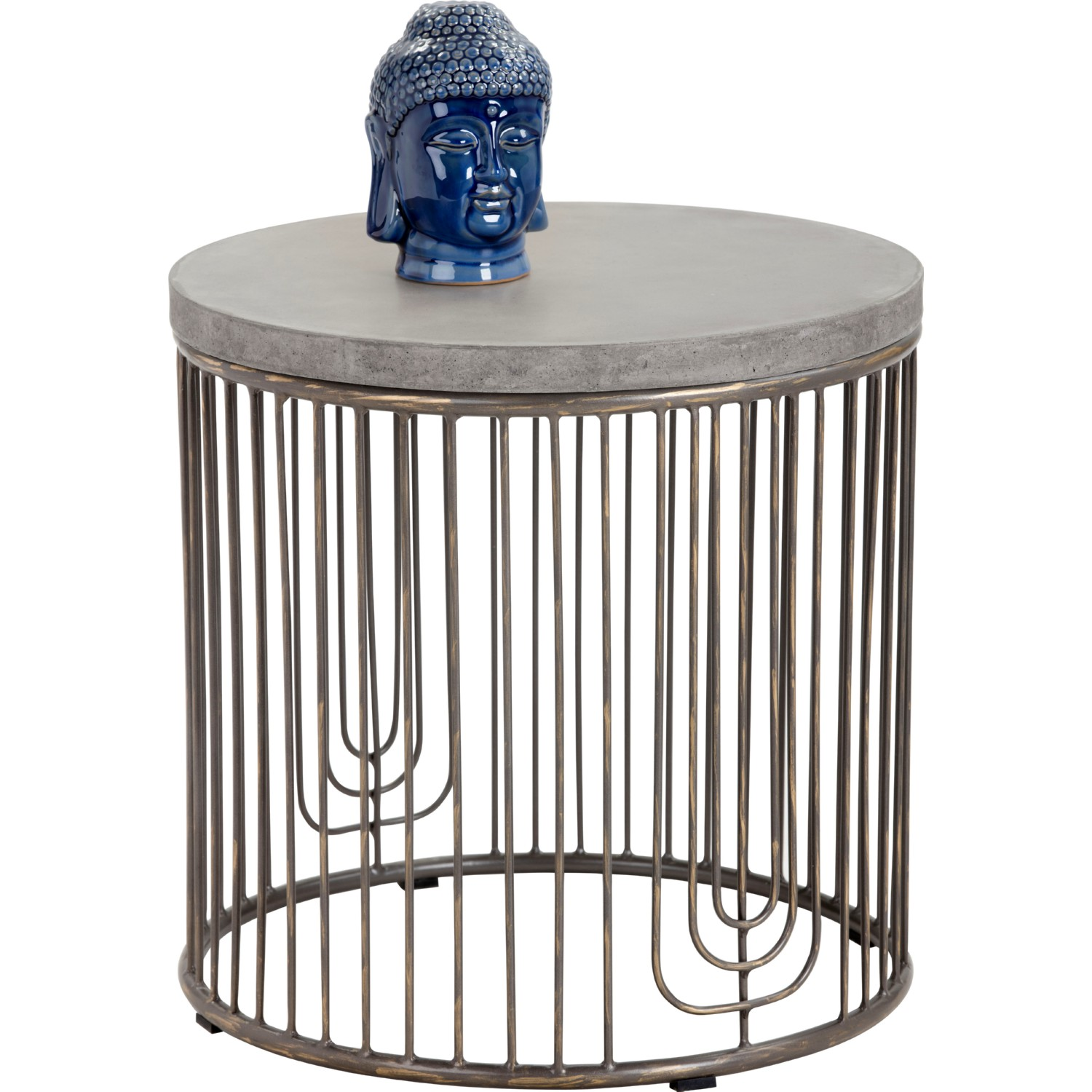 Sargon Side Table W/ Concrete Top On Antique Silver Cage Base