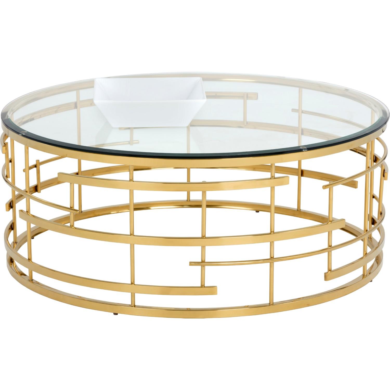 Sunpan 101485 cielo coffee table w round glass top on gold metal base cielo coffee table w round glass top on gold metal base geotapseo Image collections