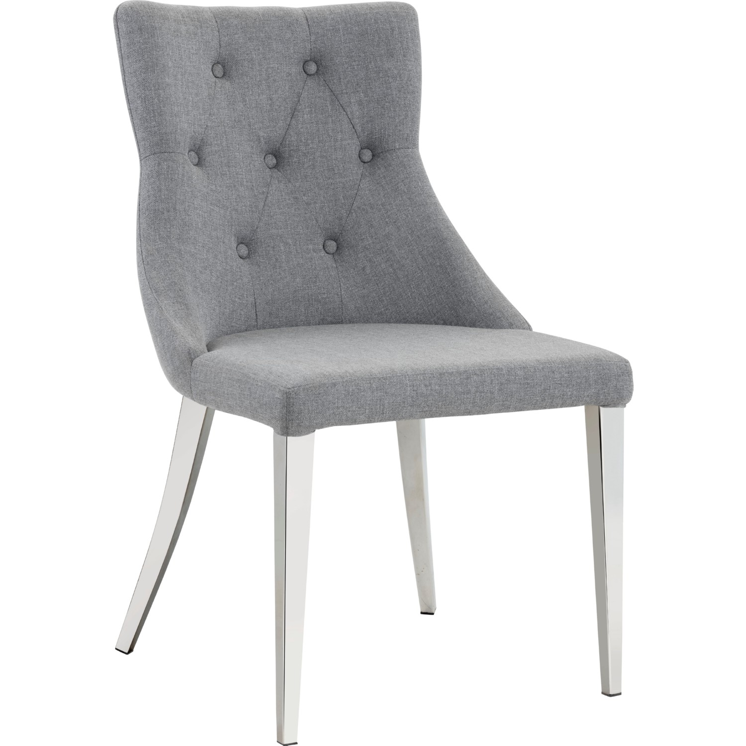 Sunpan Chambers Dining Chair In Tufted Cloud Grey Fabric On Polished  Stainless Legs (Set Of 2)
