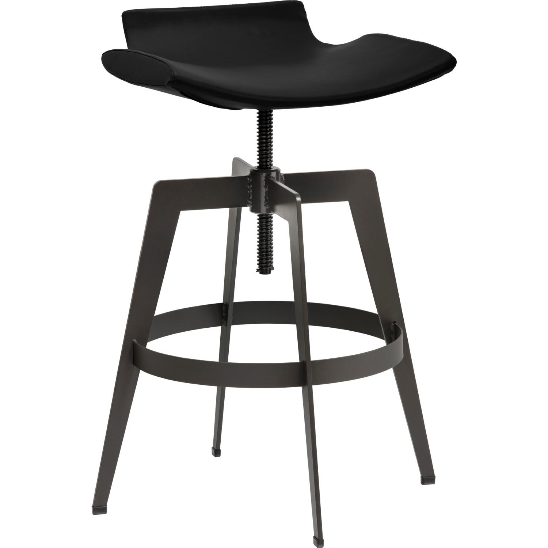 Astonishing Bancroft Adjustable Bar Stool In Onyx Leatherette On Powder Coated Metal Base By Sunpan Ibusinesslaw Wood Chair Design Ideas Ibusinesslaworg