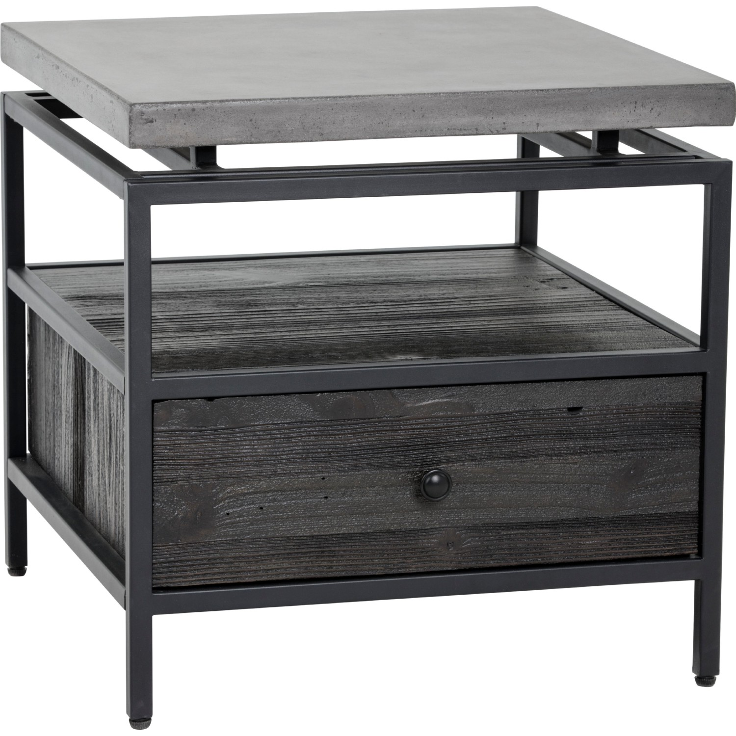 Captivating Norwood End Table In Coffee Bean Wood W/ Concrete Top