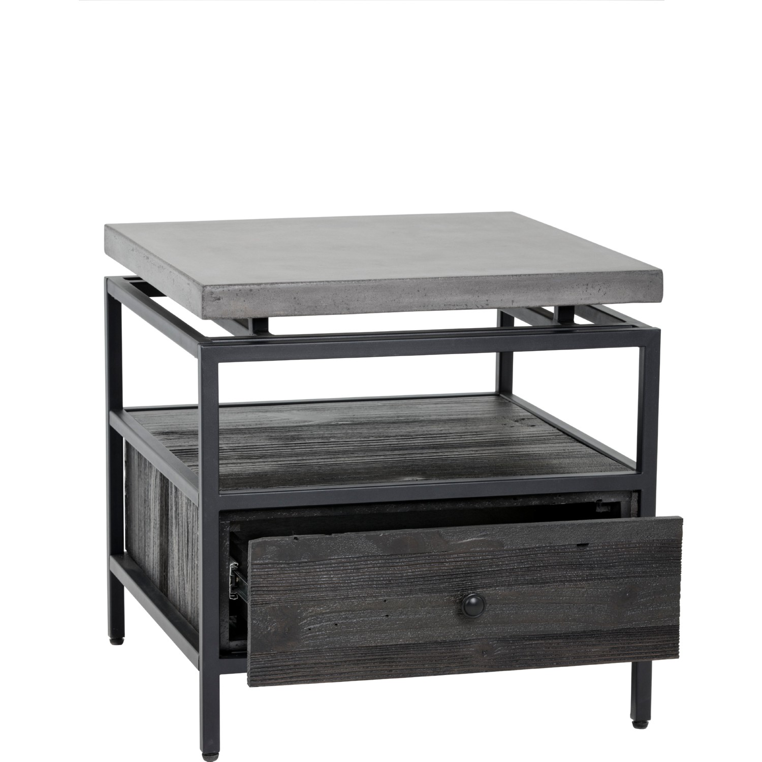 Sunpan Norwood End Table in Coffee Bean Wood w Concrete Top