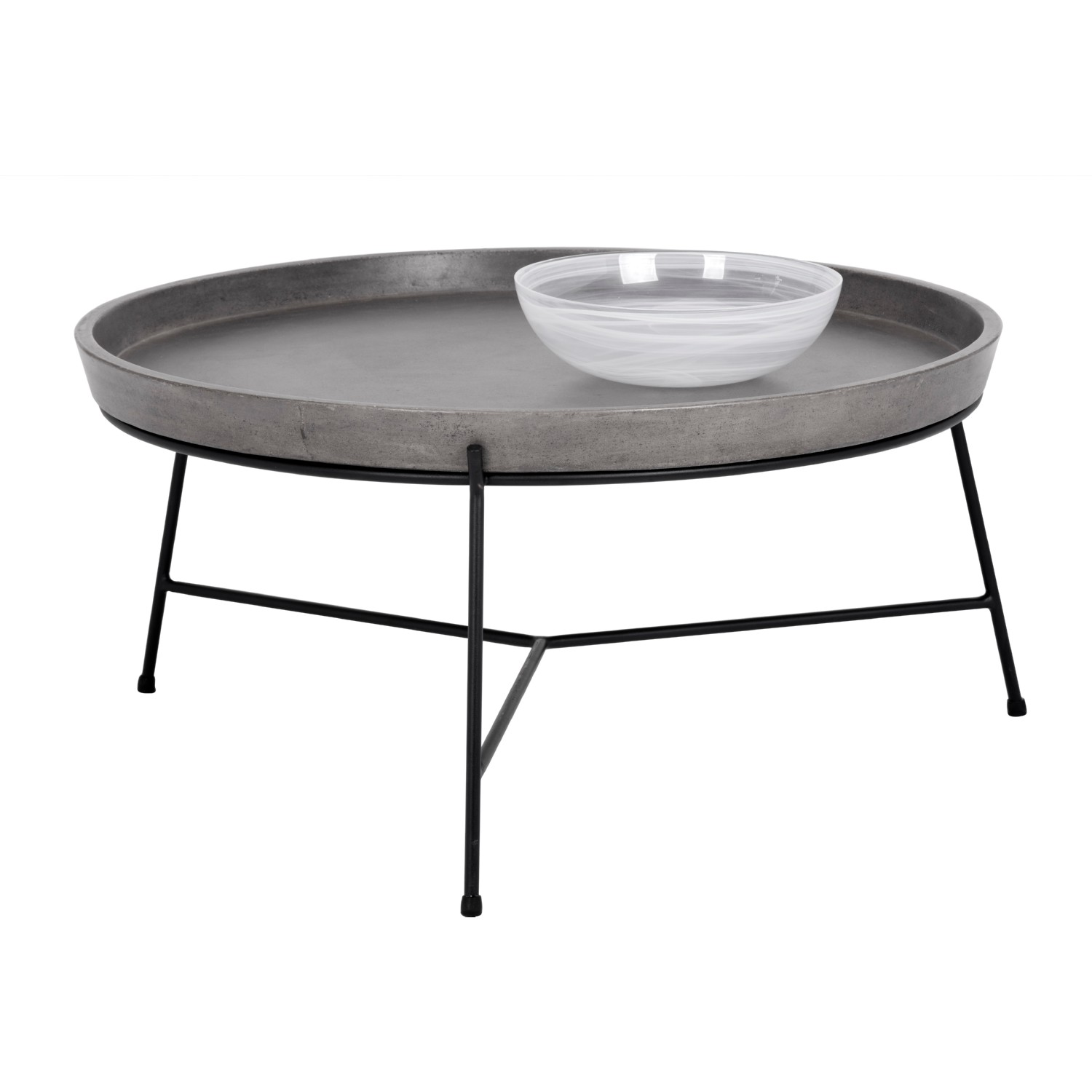 Sunpan Remy Coffee Table w Concrete Tray Like Top on Black