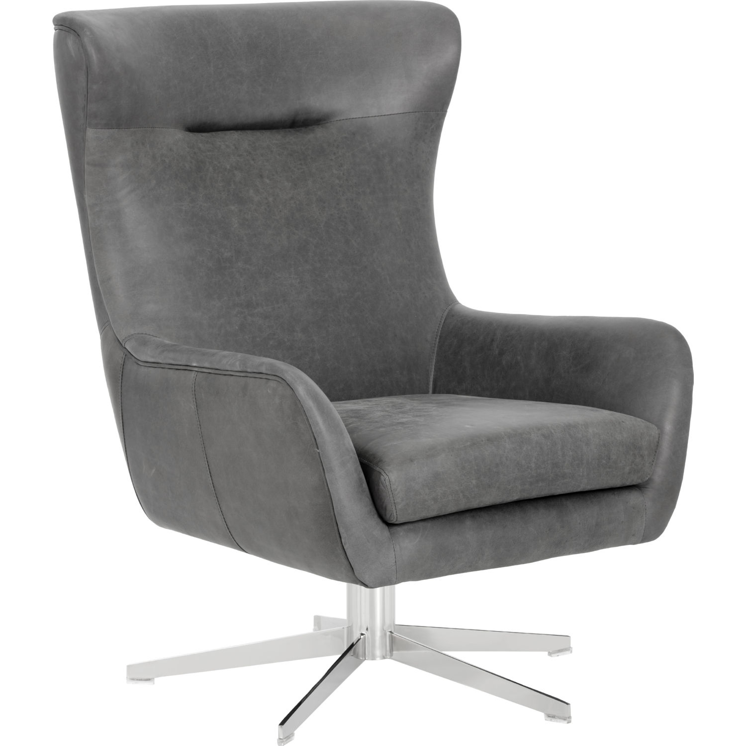 Outstanding Judy Swivel Accent Chair In Black Top Grain Leather On Stainless By Sunpan Ncnpc Chair Design For Home Ncnpcorg