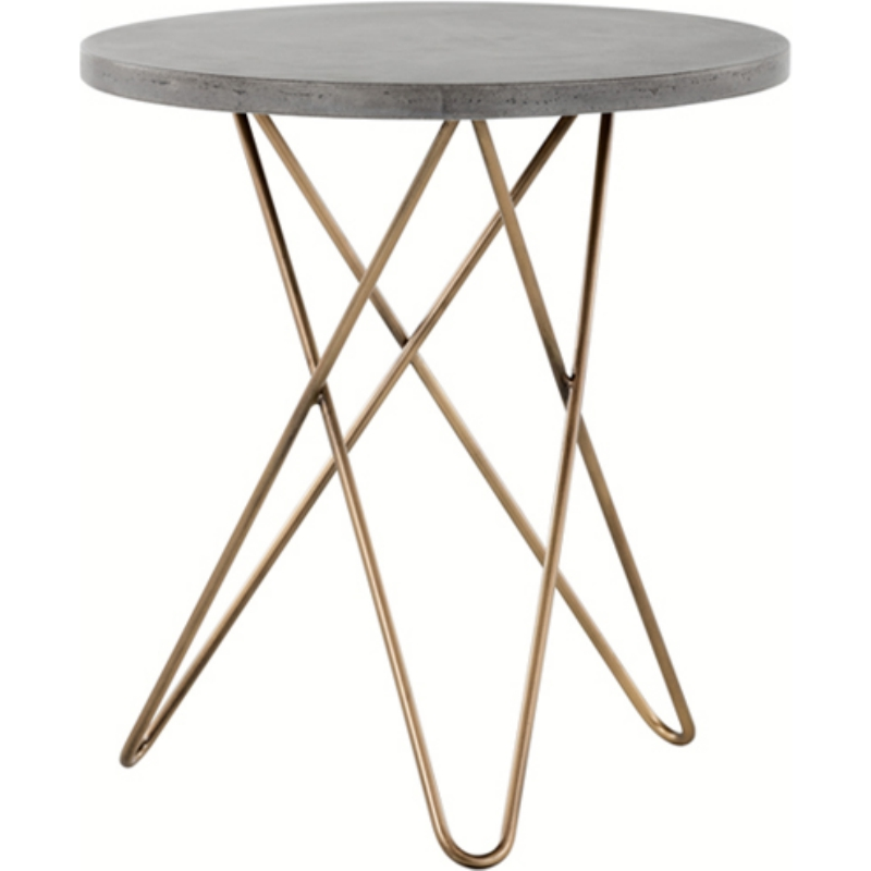 Sunpan 102065 Wesley End Table W/ Round Concrete Top On Brass Hairpin Legs