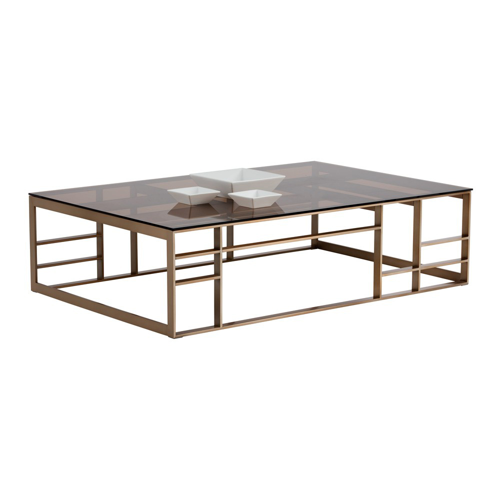 Sunpan 102153 joanna coffee table in brown glass on antique brass joanna coffee table in brown glass on antique brass geotapseo Gallery