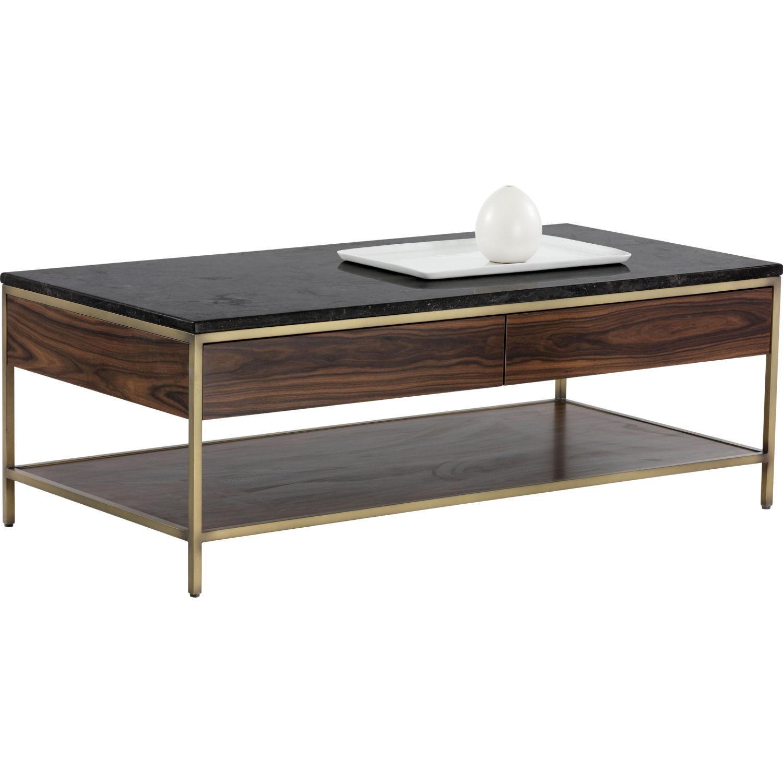 Sunpan 102213 stamos coffee table in wood brass w black marble top stamos coffee table in wood brass w black marble top geotapseo Gallery