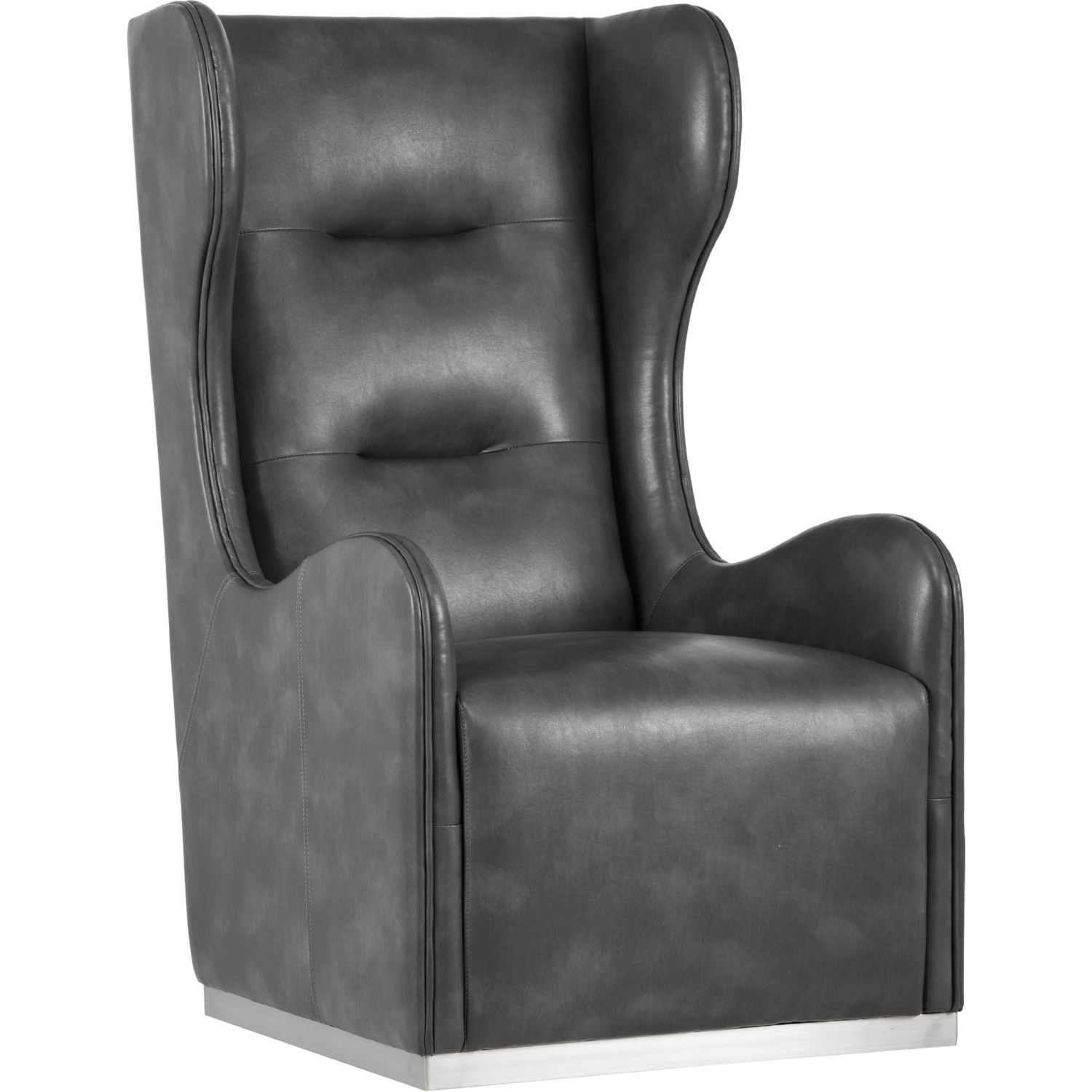 Franny Swivel Wing Chair In Grey Leather On Polished Stainless By Sunpan