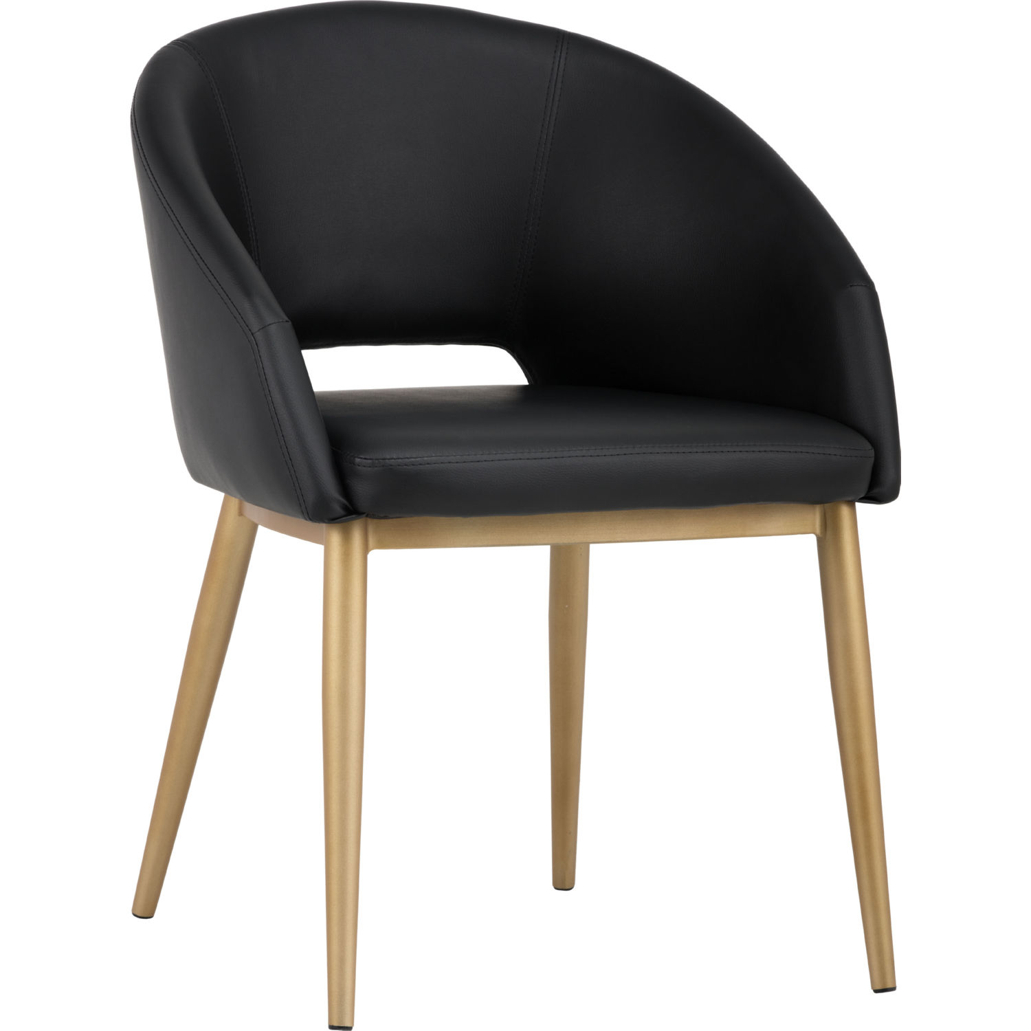 Sunpan Thatcher Dining Chair in yx Leatherette on Brass Legs