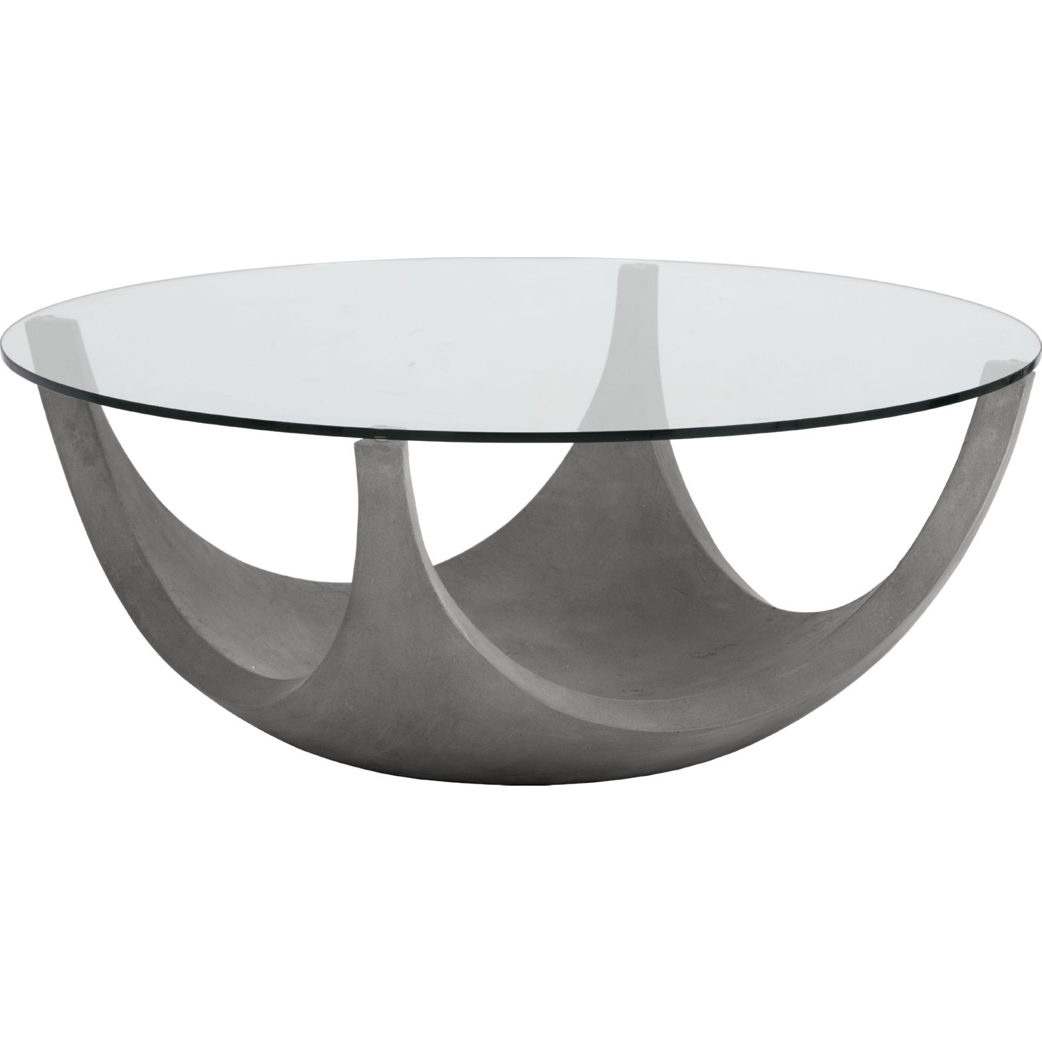 Lia Coffee Table In Sealed Concrete Tempered Gl By Sunpan