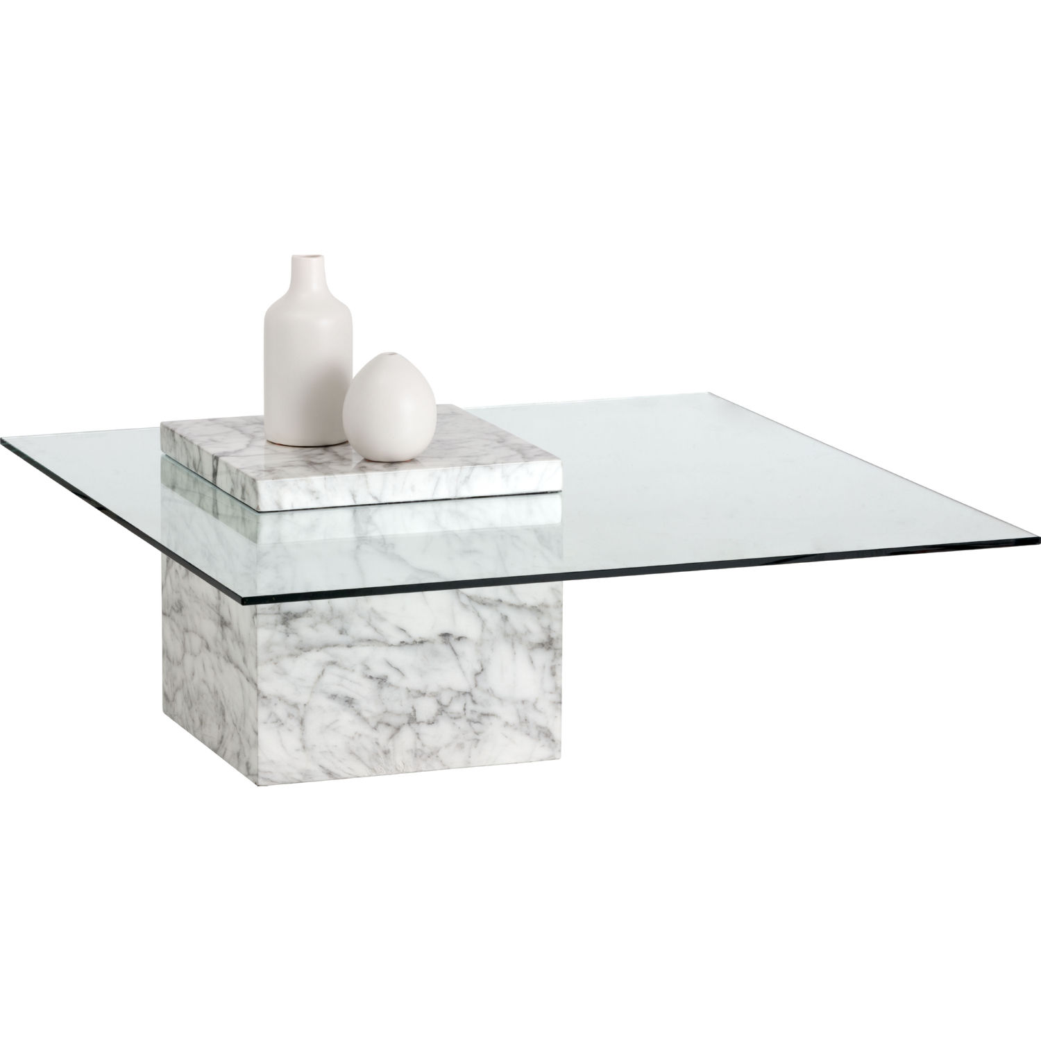 Gail Coffee Table In White Marble Look Concrete Tempered Gl By Sunpan