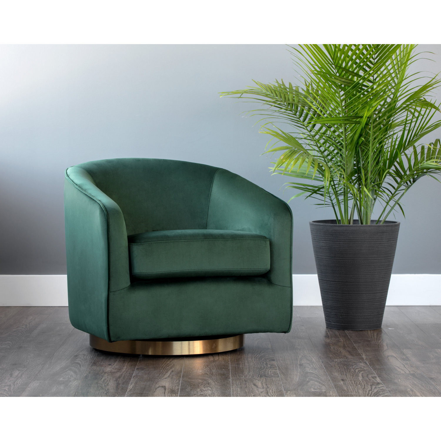Fantastic Hazel Swivel Accent Chair In Deep Green Sky Fabric On Gold Stainless By Sunpan Caraccident5 Cool Chair Designs And Ideas Caraccident5Info