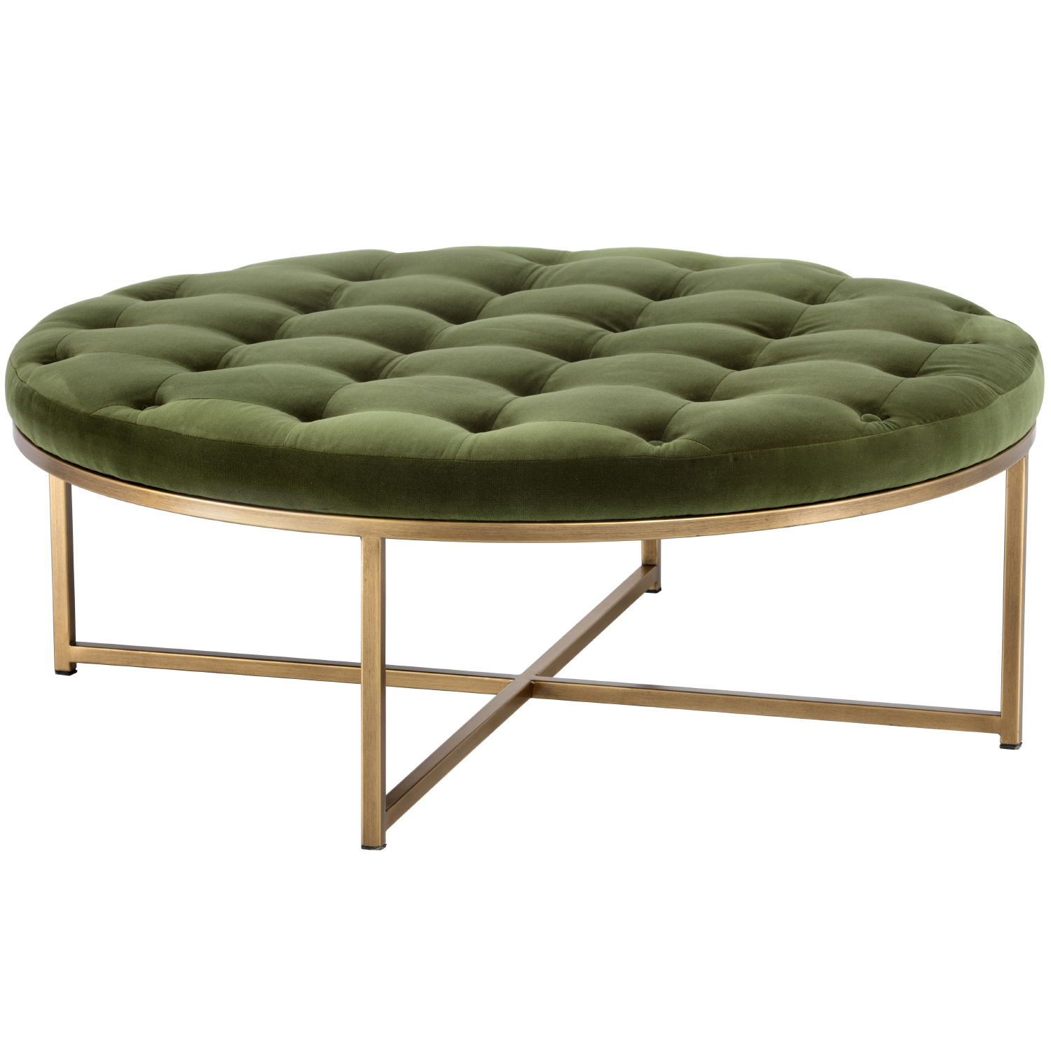Endall Round Coffee Table Ottoman In Forest Green Velvet Brass By Sunpan