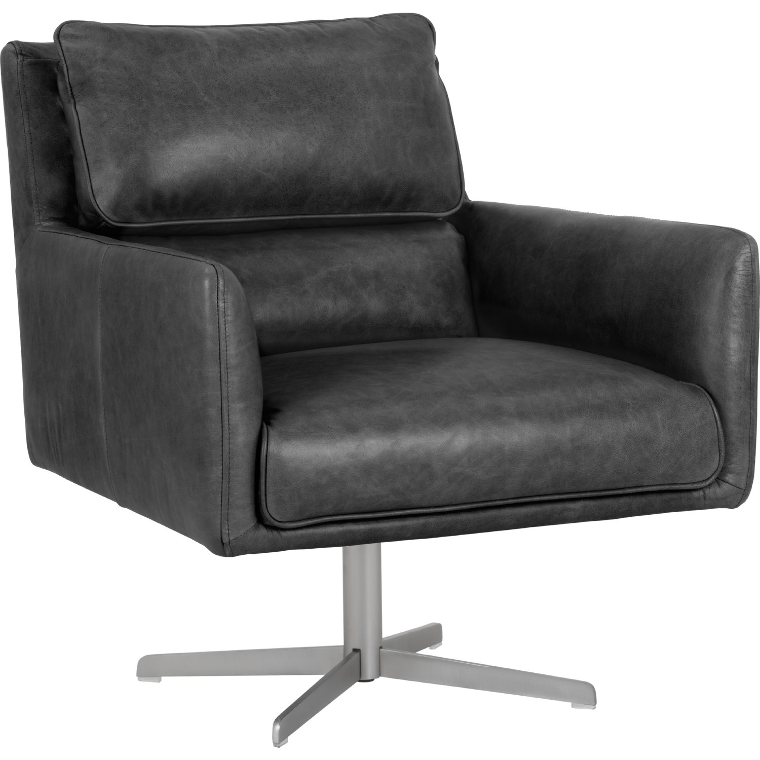 Fantastic Easton Swivel Accent Chair In Marseille Black Leather By Sunpan Ncnpc Chair Design For Home Ncnpcorg