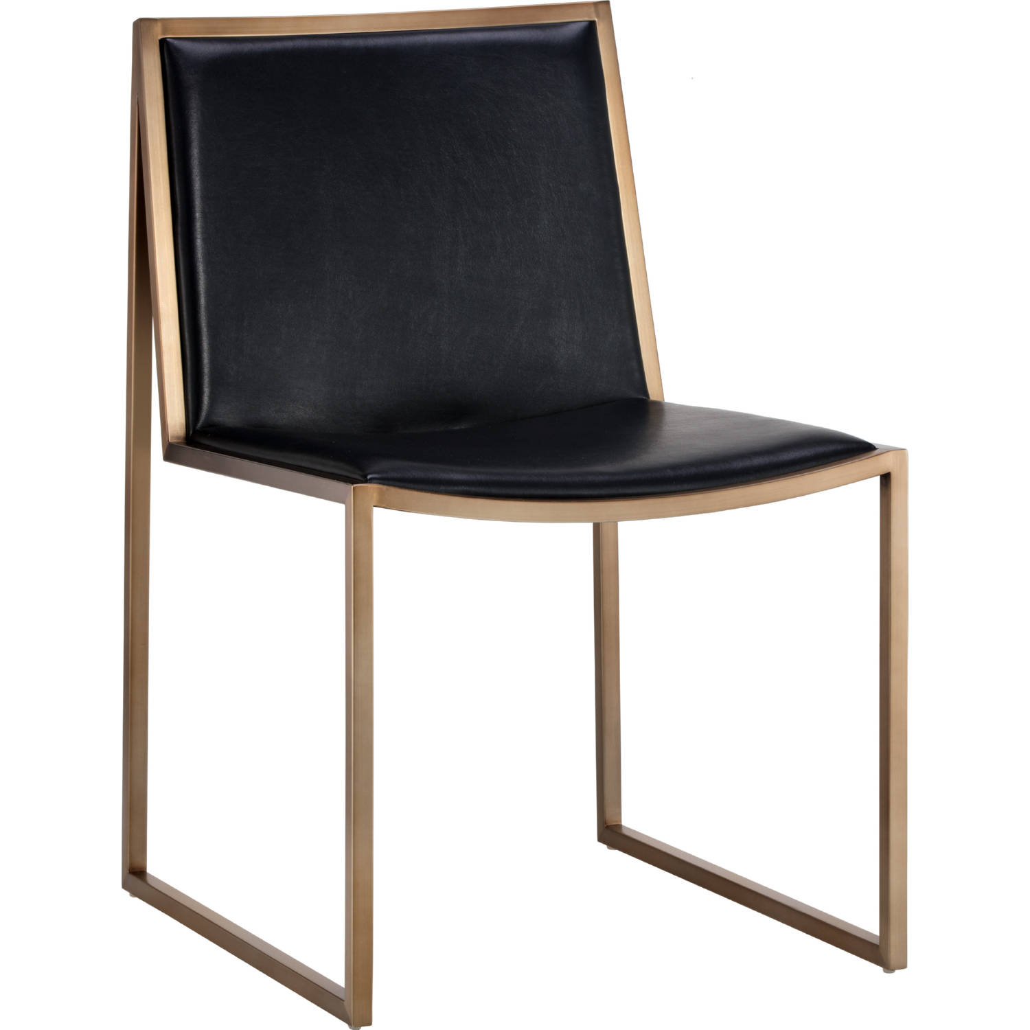 Sunpan 104711 Blair Dining Chair In Black Bonded Leather Antique Brass Set Of 2