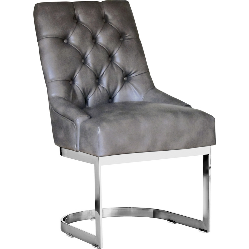 Hoxton Dining Chair In Grey Leather W/ Polished Stainless Frame