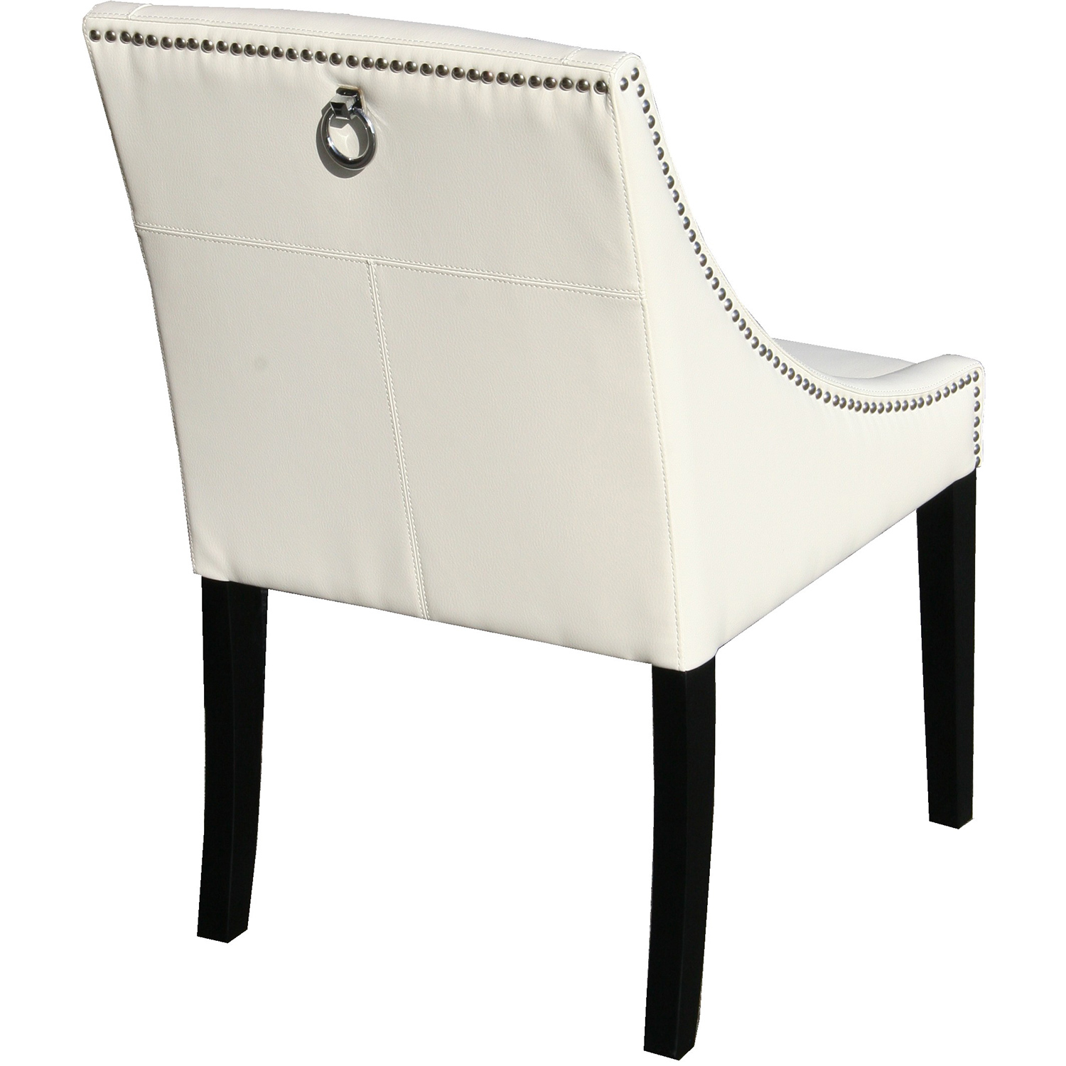 Sunpan Lucille Dining Chair in Ivory Leather w Silver Nail