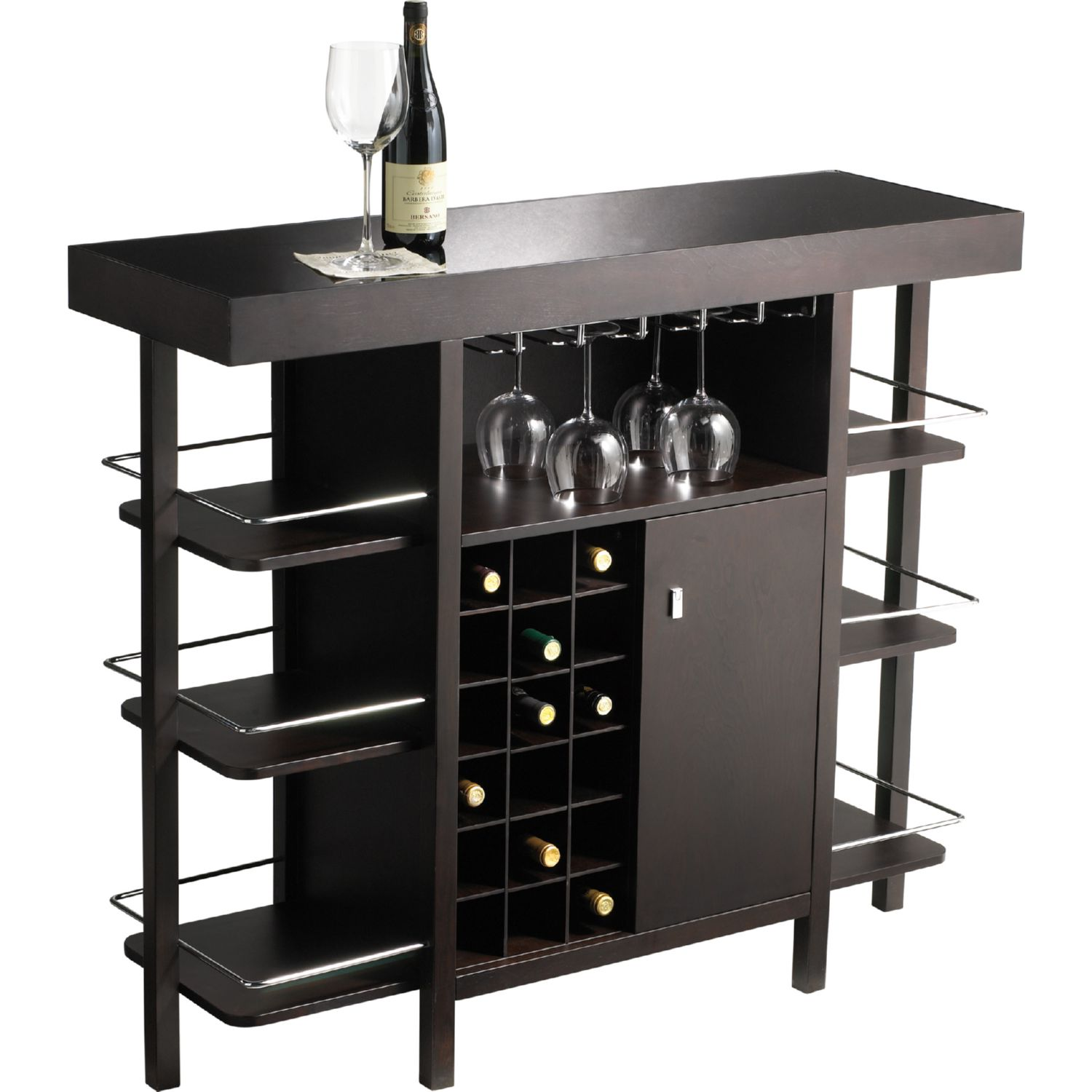 Sunpan Philmore Drinks Bar In Espresso W/ Black Tempered Glass