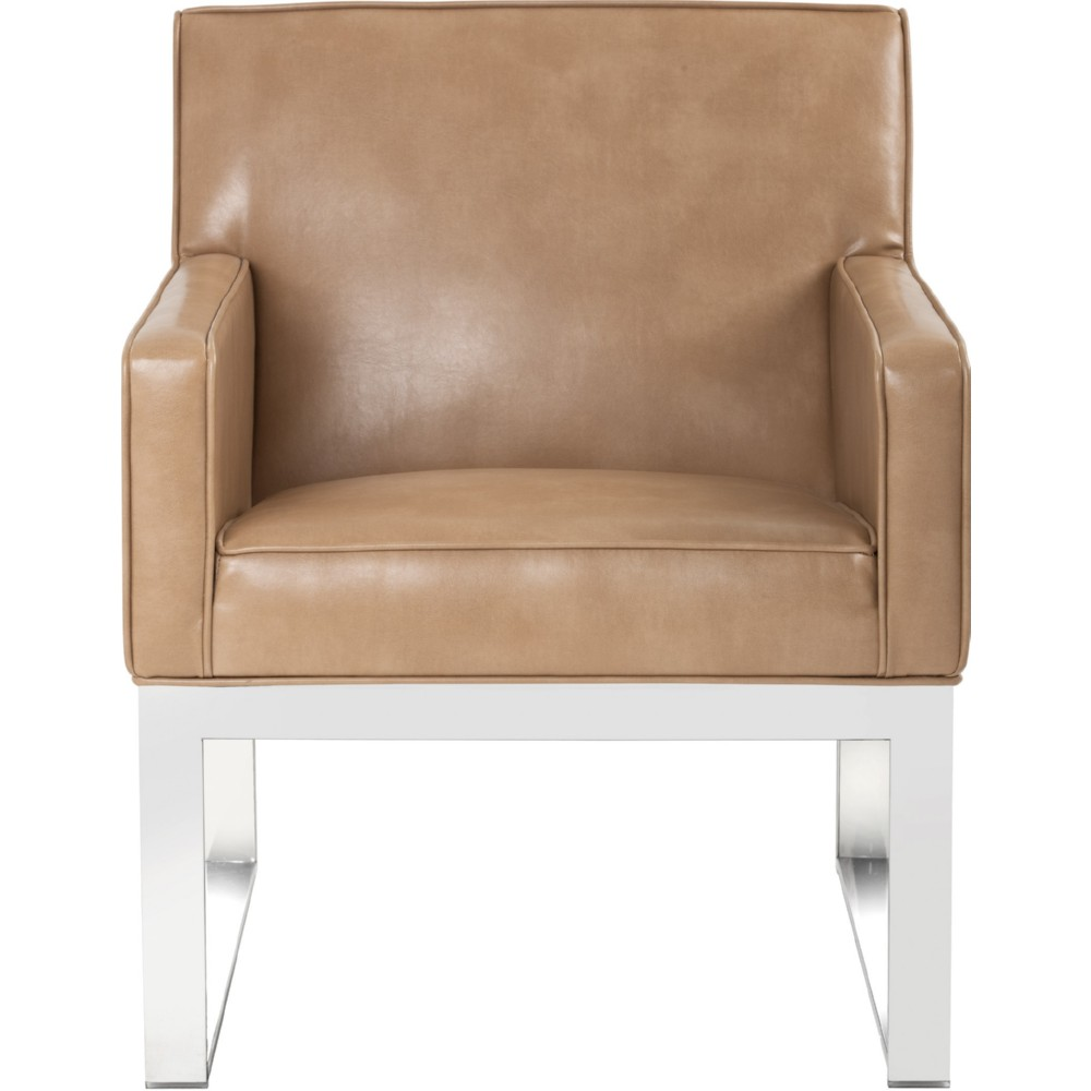 sunpan  sheldon armchair in peanut leather w polished  - sunpan sheldon armchair in peanut leather w polished stainless frame