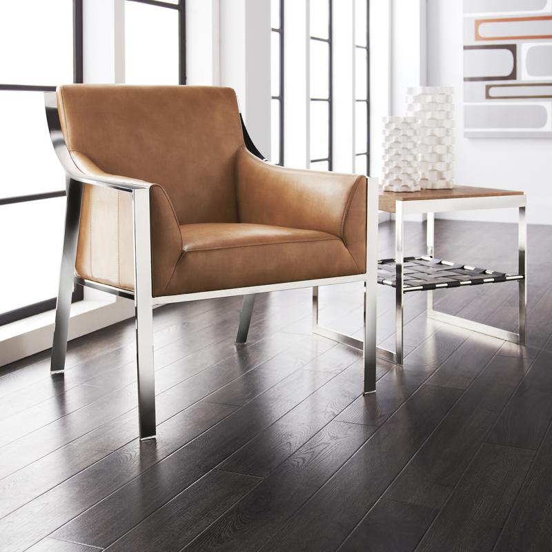 Sunpan 74809 Hyde Armchair In Peanut Leather W Polished