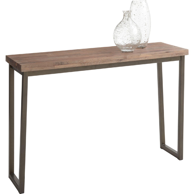 porto console table in distressed walnut w black powder coated steel base